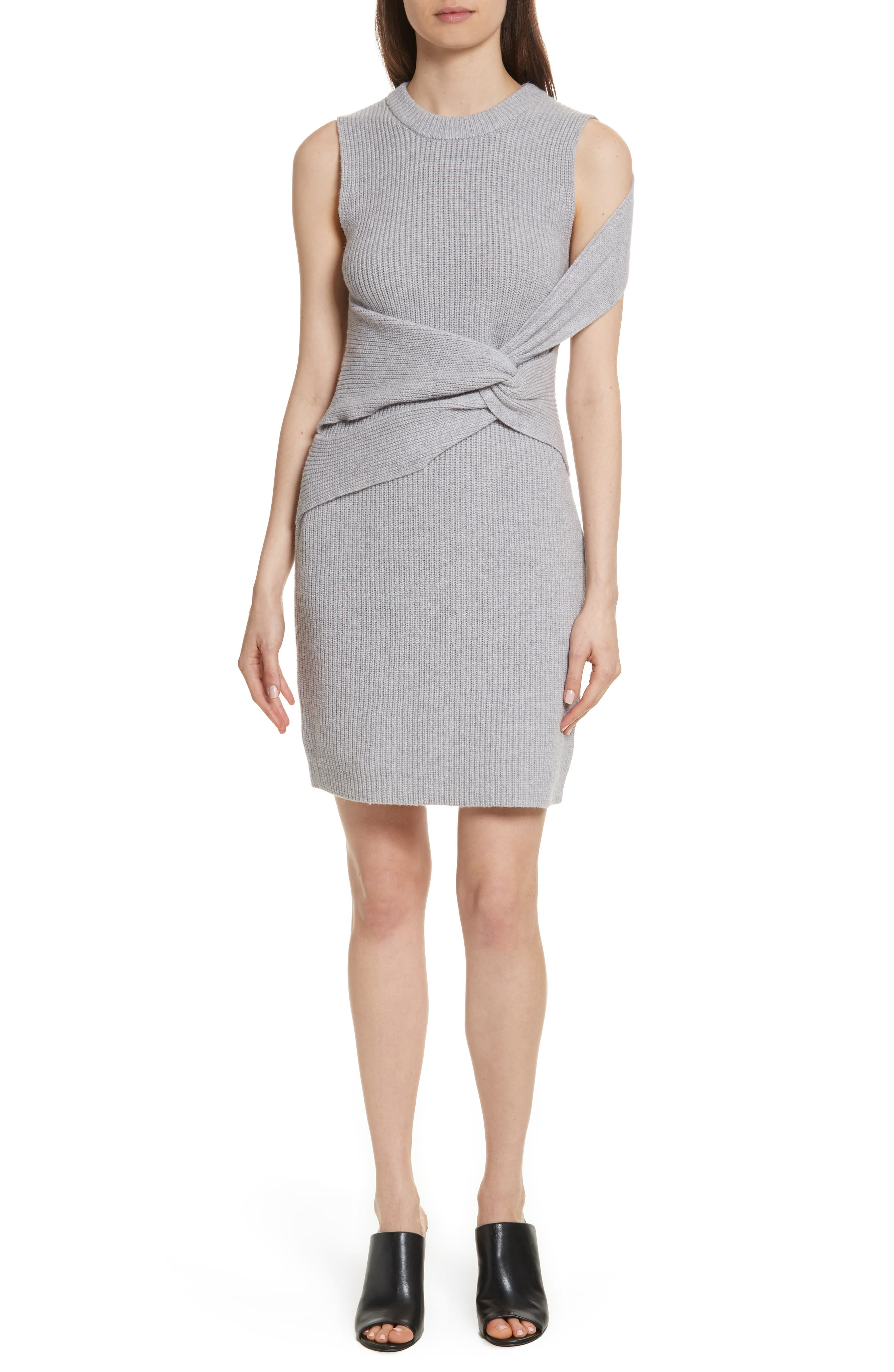 Twist Knit Dress,                         Main,                         color, Grey