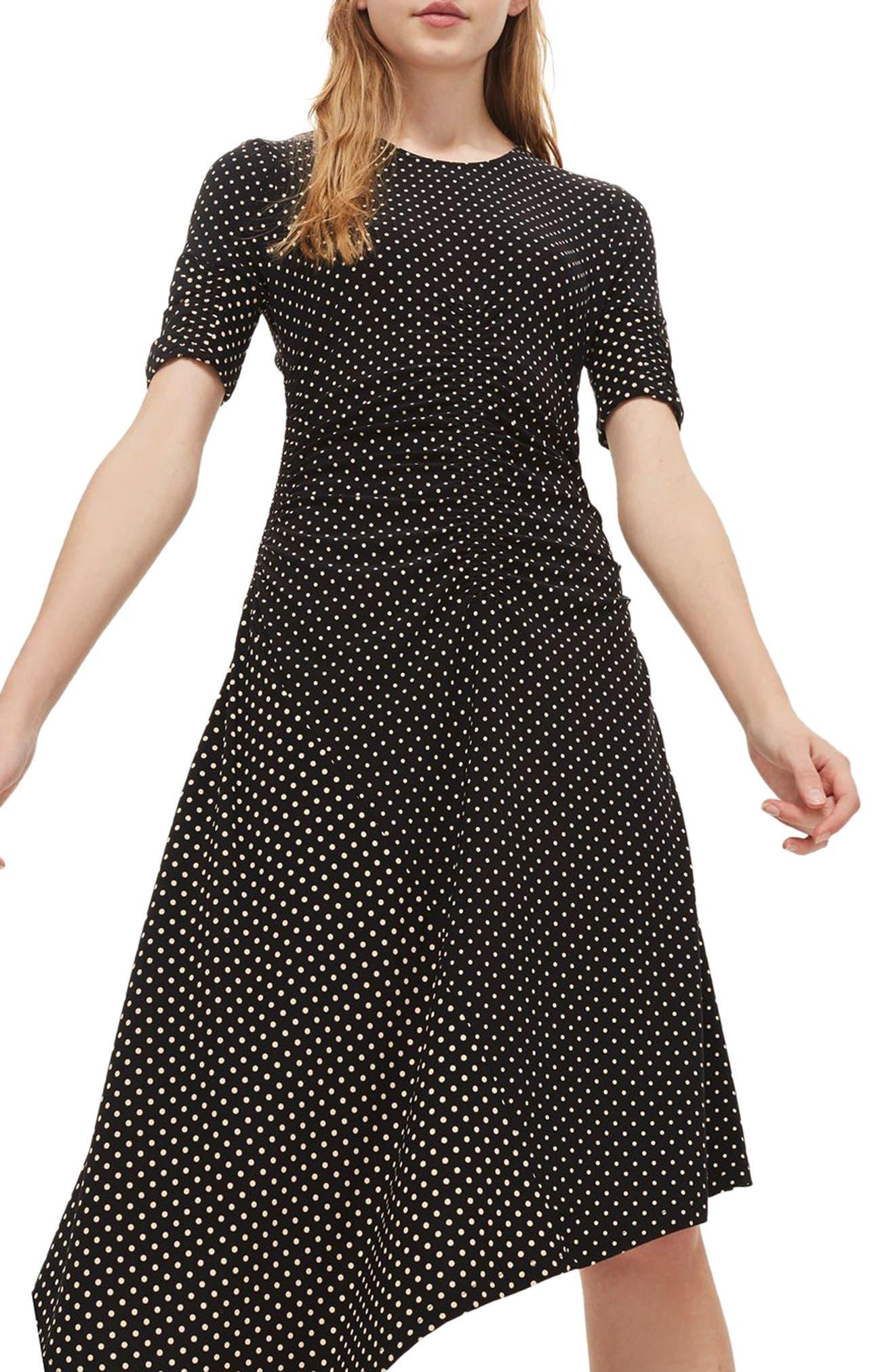 Polka Dot Asymmetrical Midi Dress,                             Main thumbnail 1, color,                             Black Multi