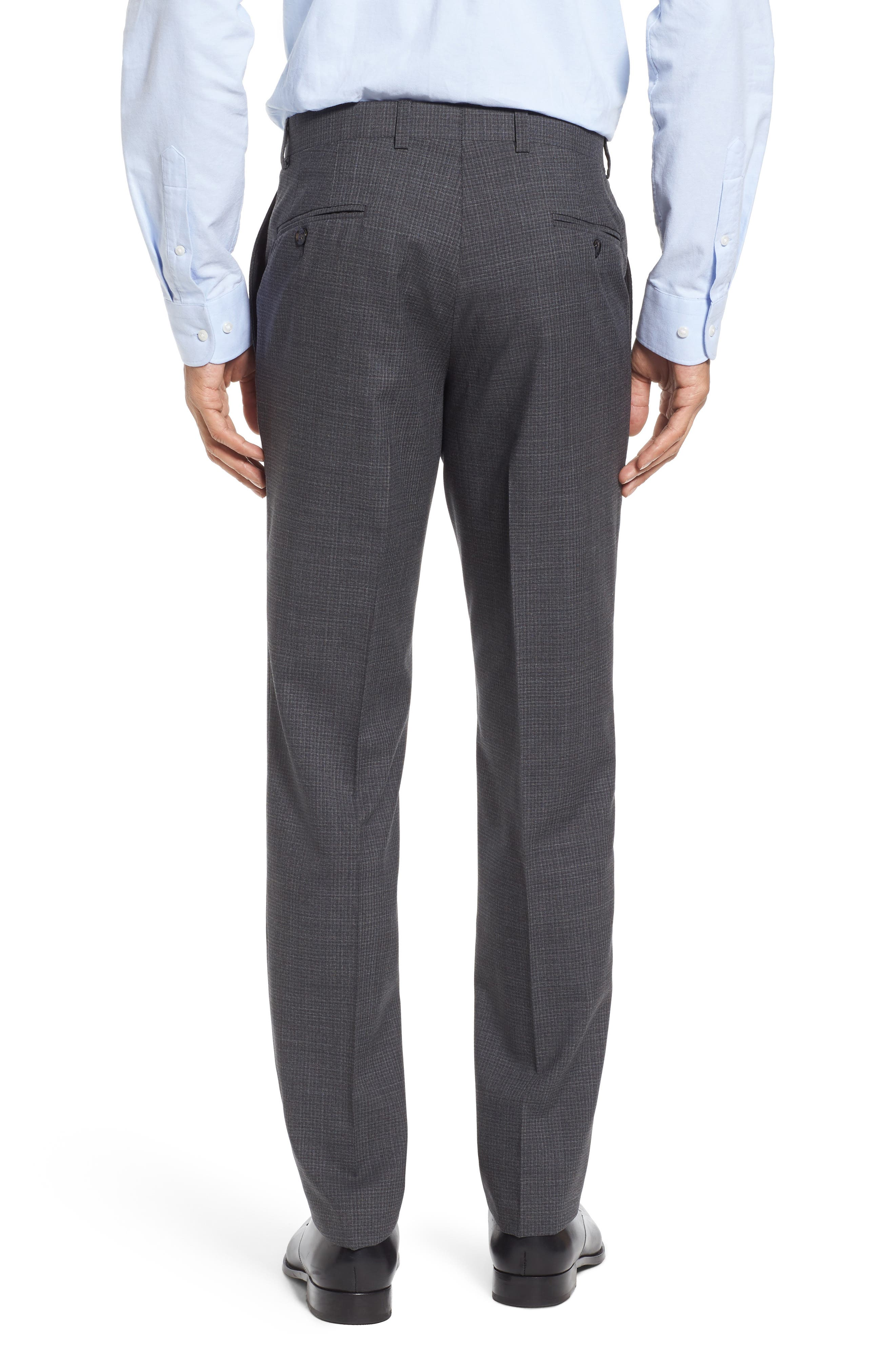 Flat Front Check Wool Trousers,                             Alternate thumbnail 2, color,                             Grey