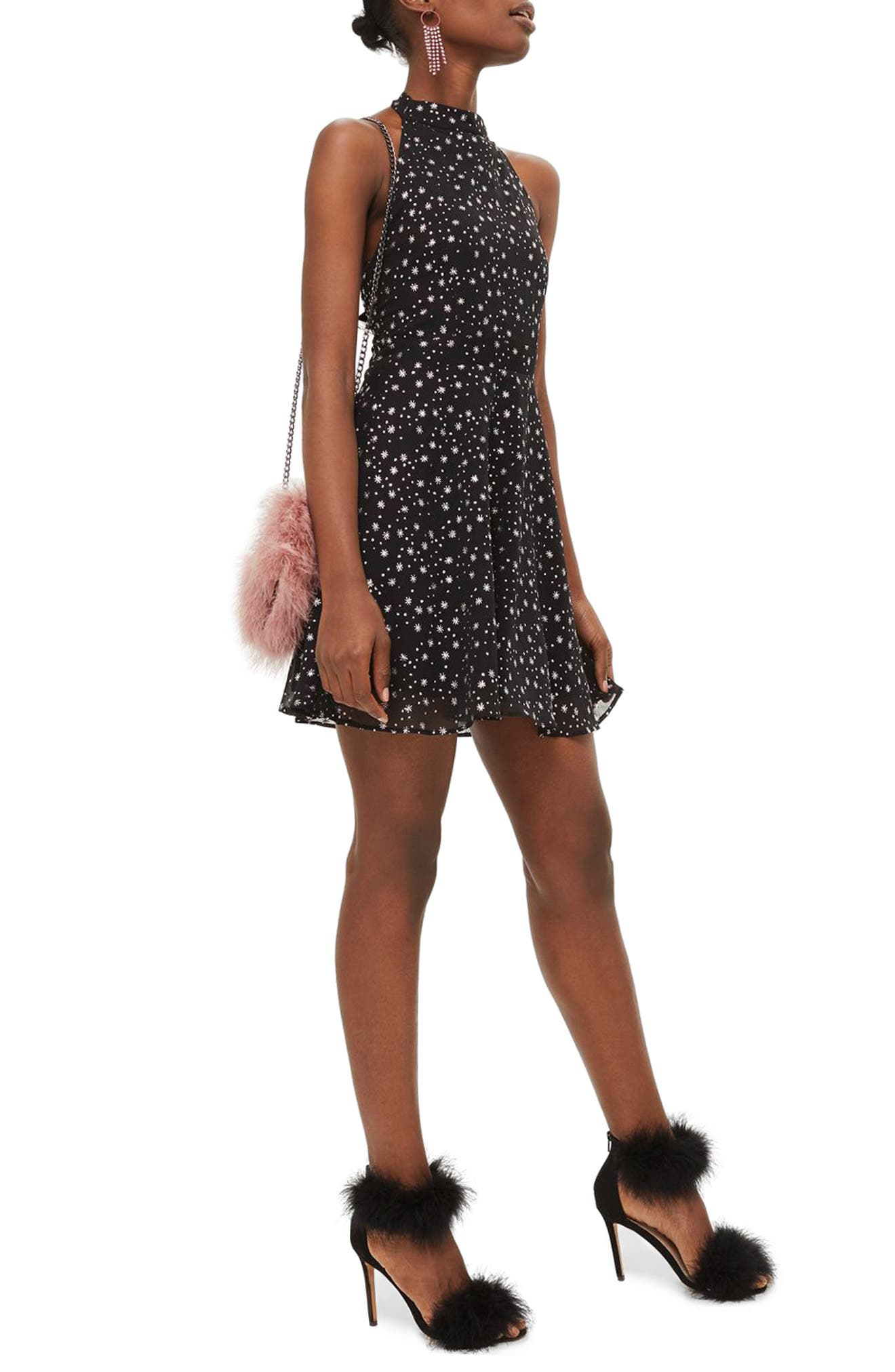 Glitter Halter Neck Skater Dress,                         Main,                         color, Black Multi