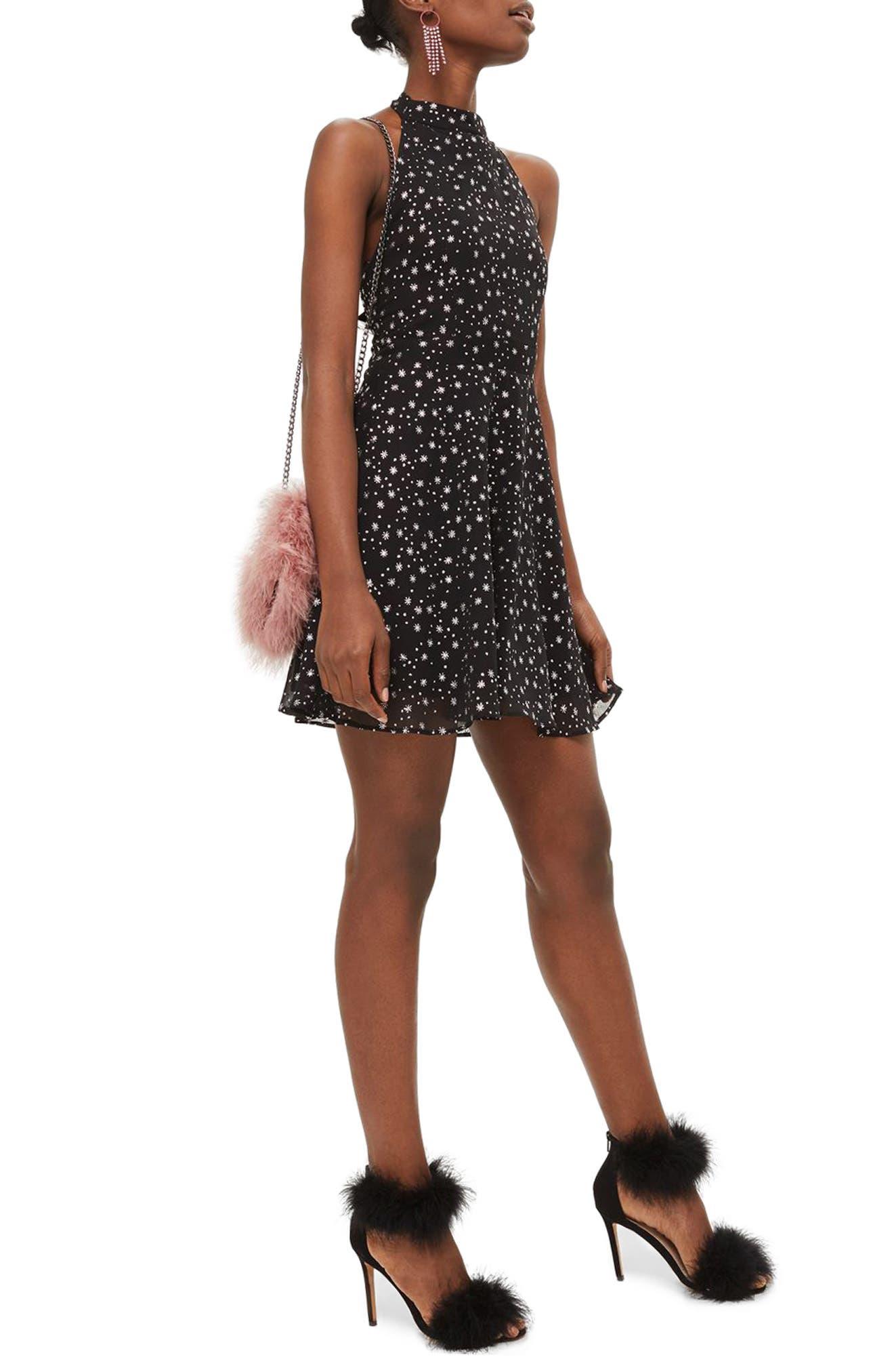 Topshop Glitter Halter Neck Skater Dress