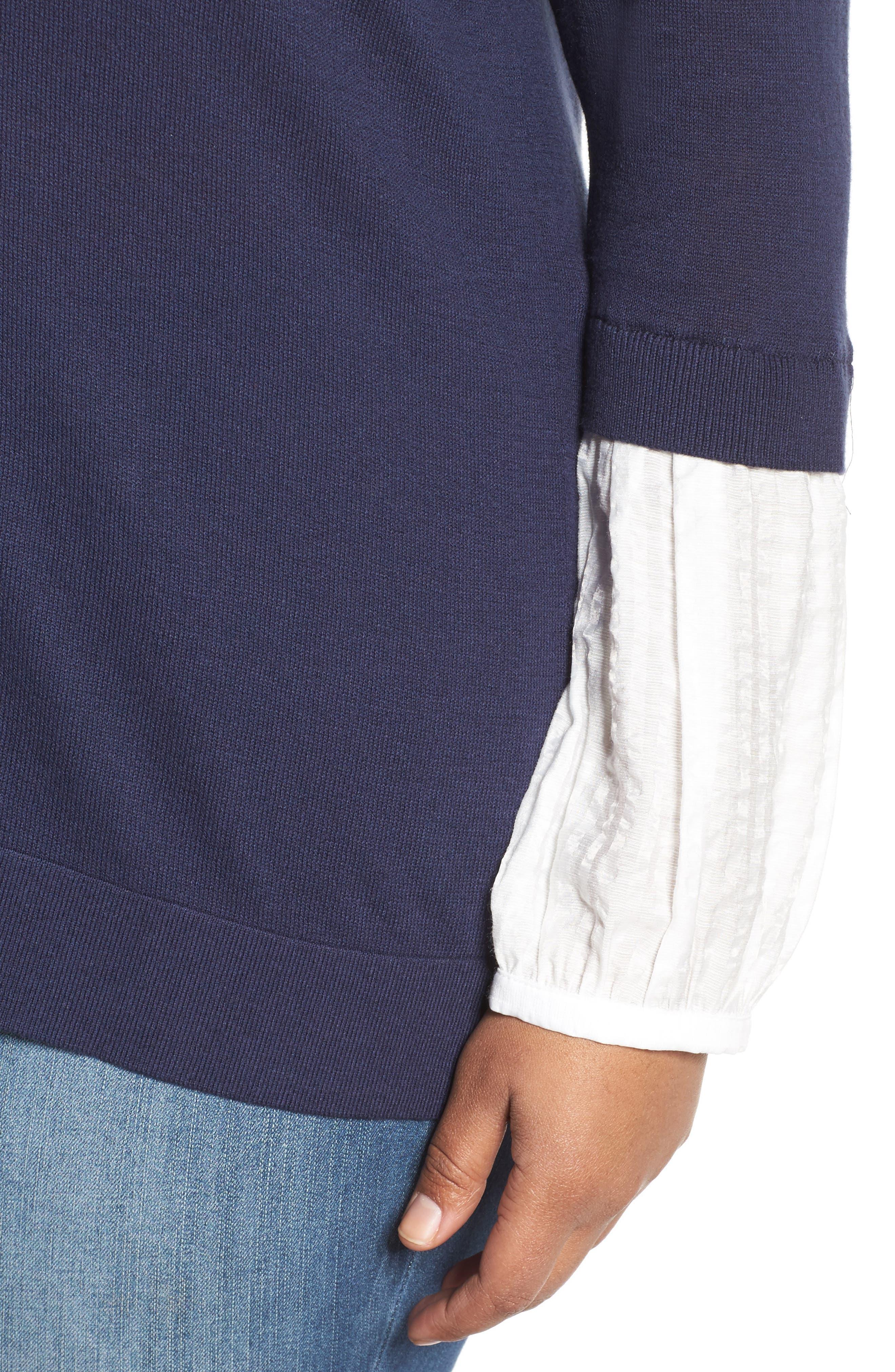 Mix Media Sweater,                             Alternate thumbnail 4, color,                             Navy- White Combo