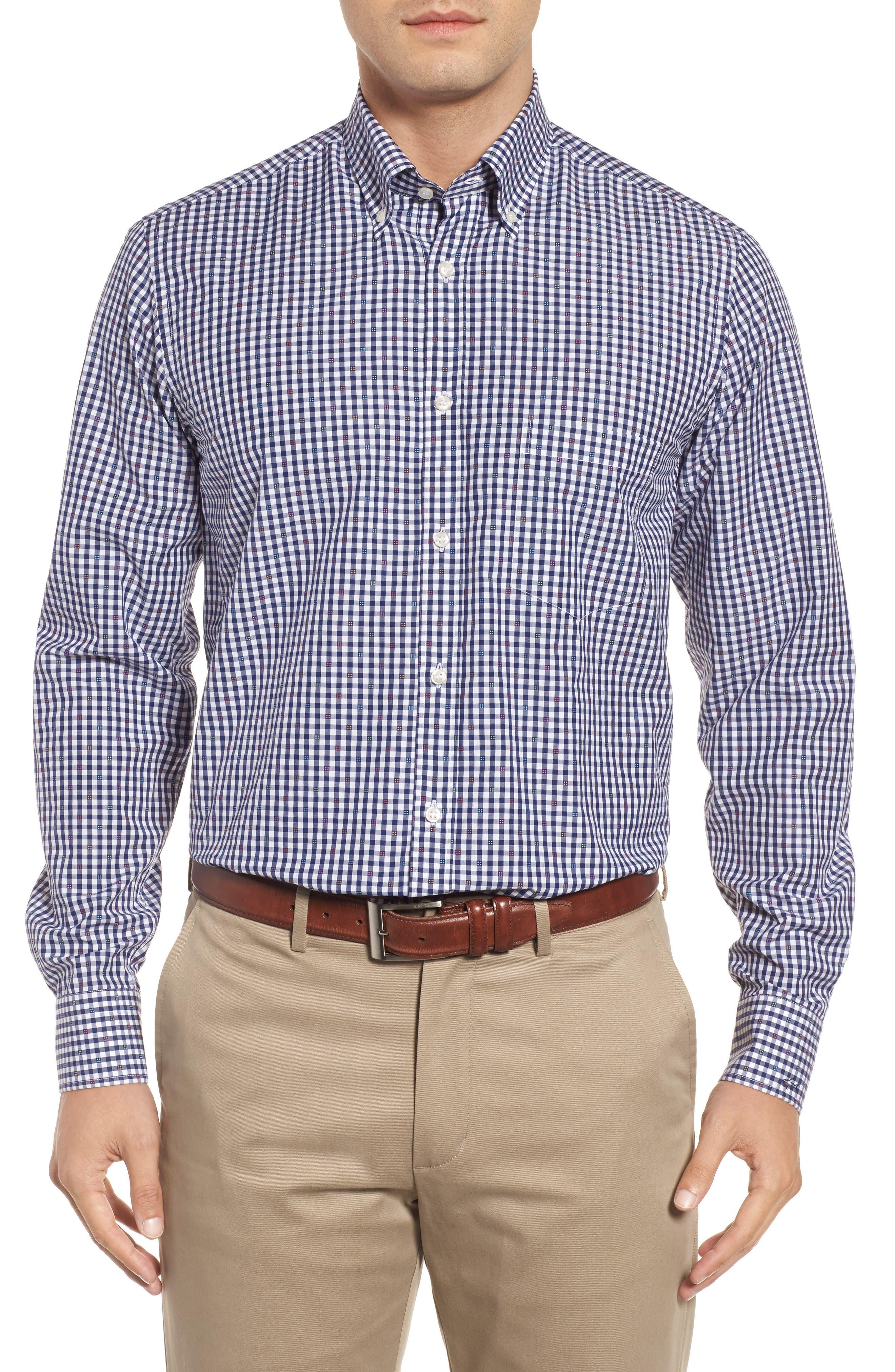 Paul&Shark Regular Fit Jacquard Check Sport Shirt,                         Main,                         color, Navy/ White