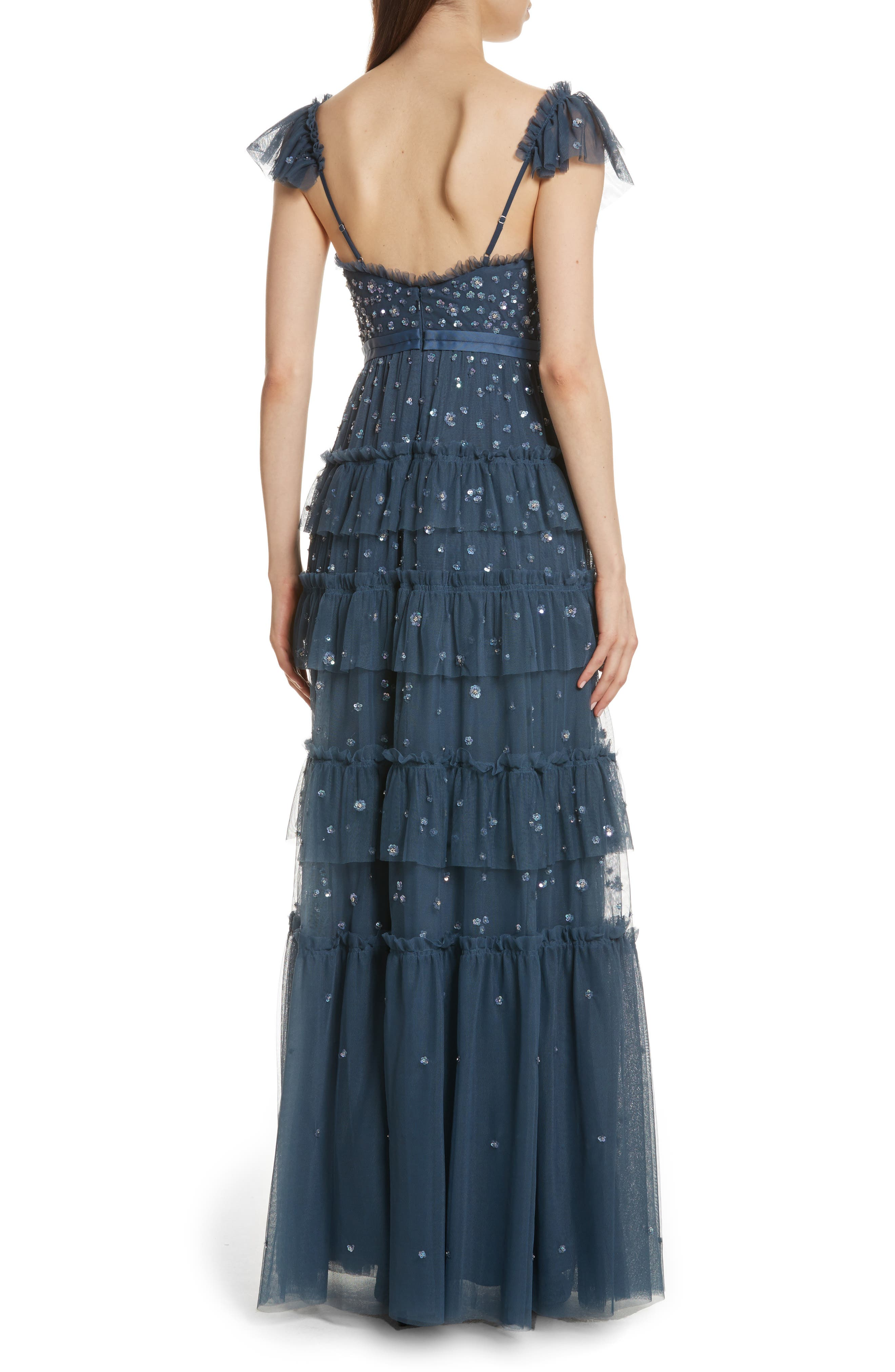 Sunburst Tiered Gown,                             Alternate thumbnail 2, color,                             Washed Indigo