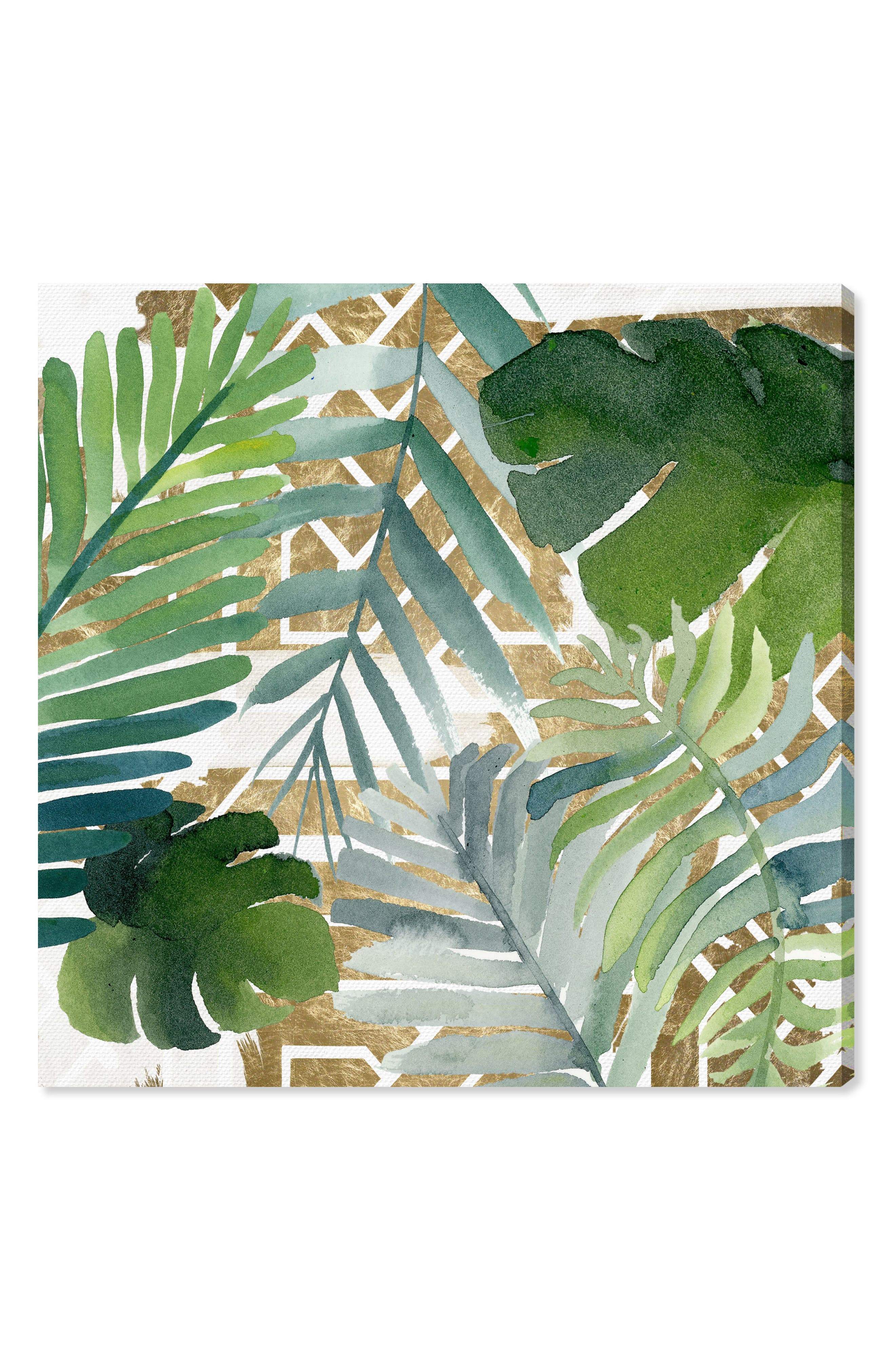 Introspect Palm Leaves Canvas Wall Art,                         Main,                         color, White
