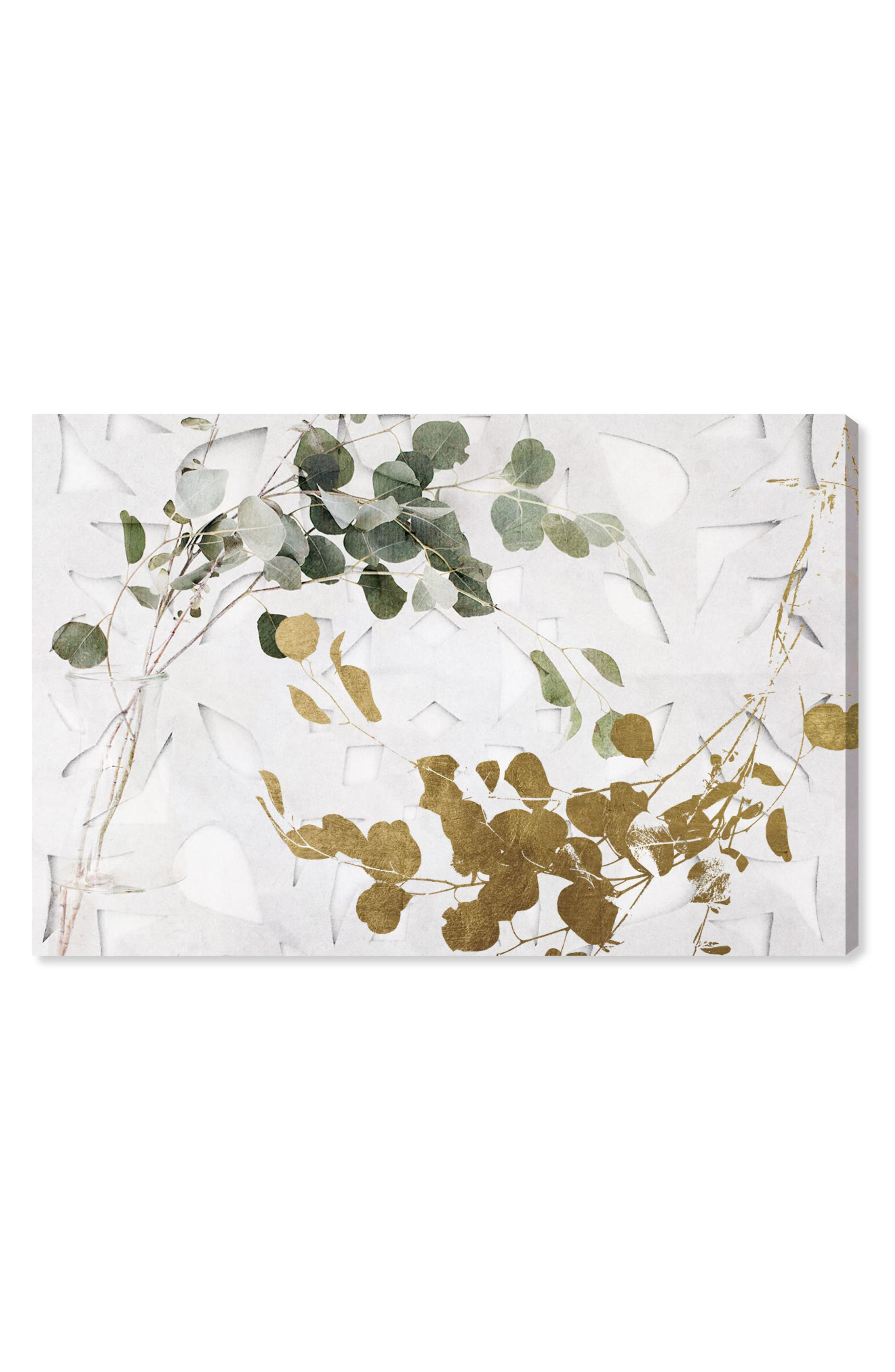 Golden Leaves Canvas Wall Art,                         Main,                         color, White