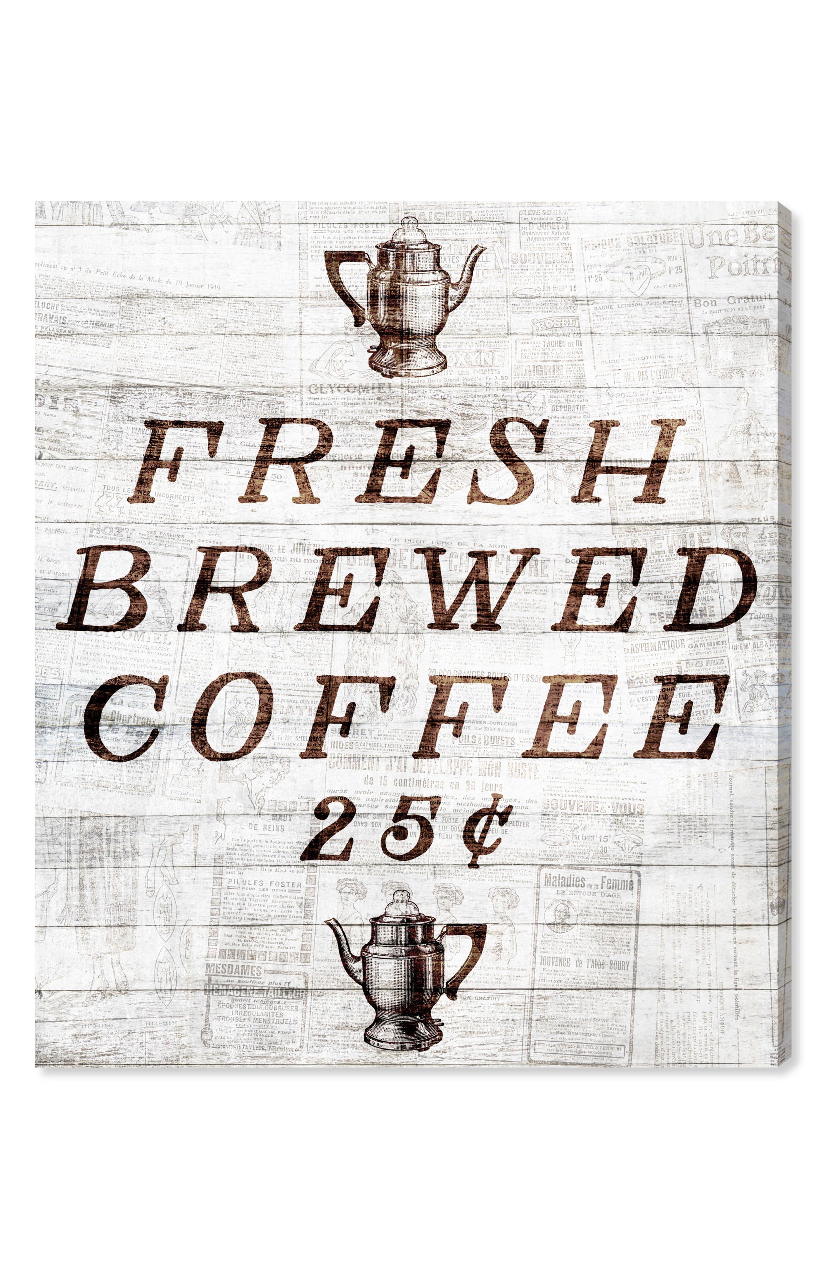 Fresh Brewed Coffee Canvas Wall Art,                         Main,                         color, Beige