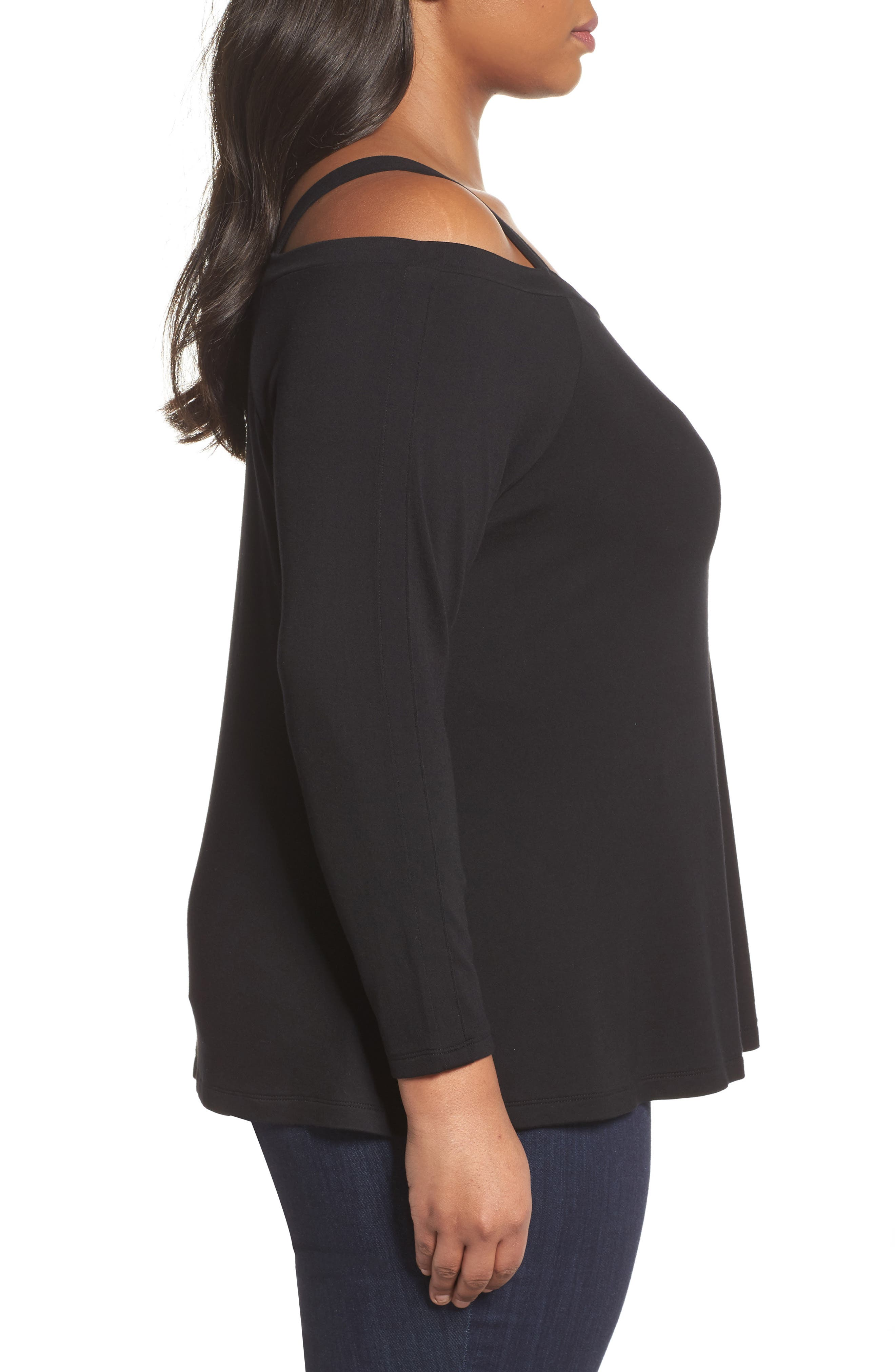 Strappy Long Sleeve Tee,                             Alternate thumbnail 3, color,                             Black