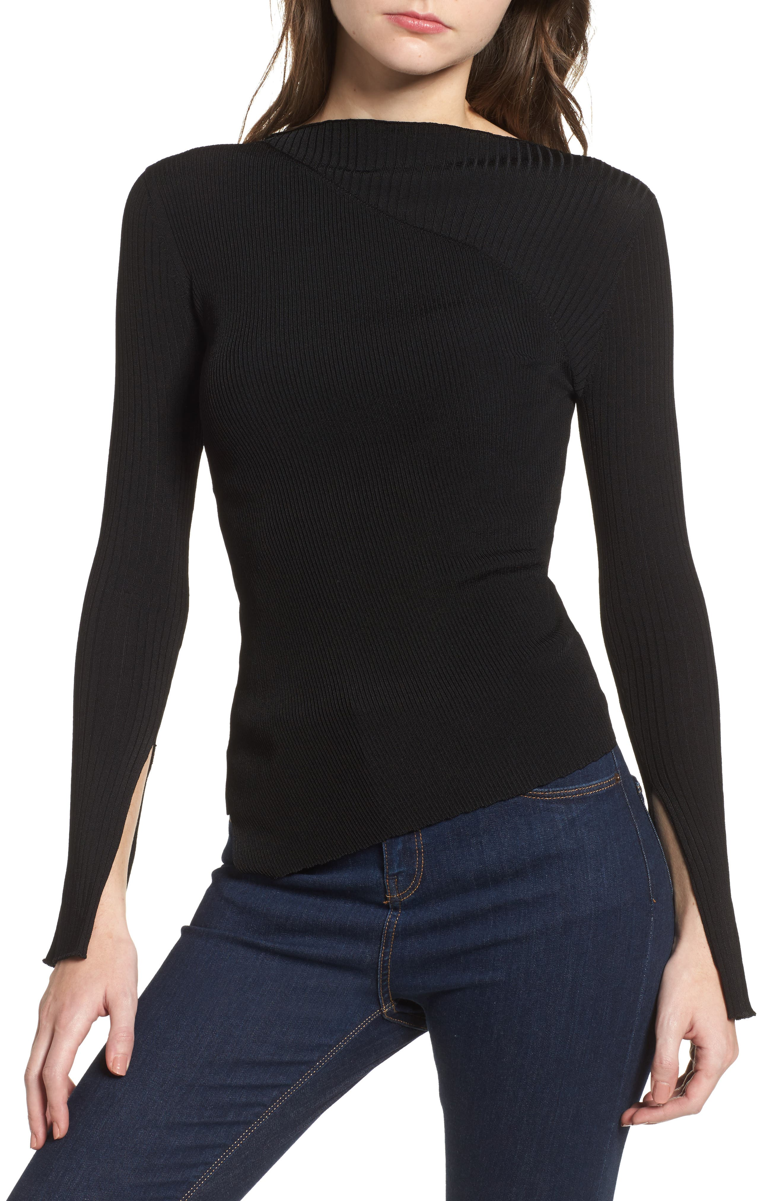 Alternate Image 1 Selected - Topshop Boutique Slash Neck Asymmetrical Top