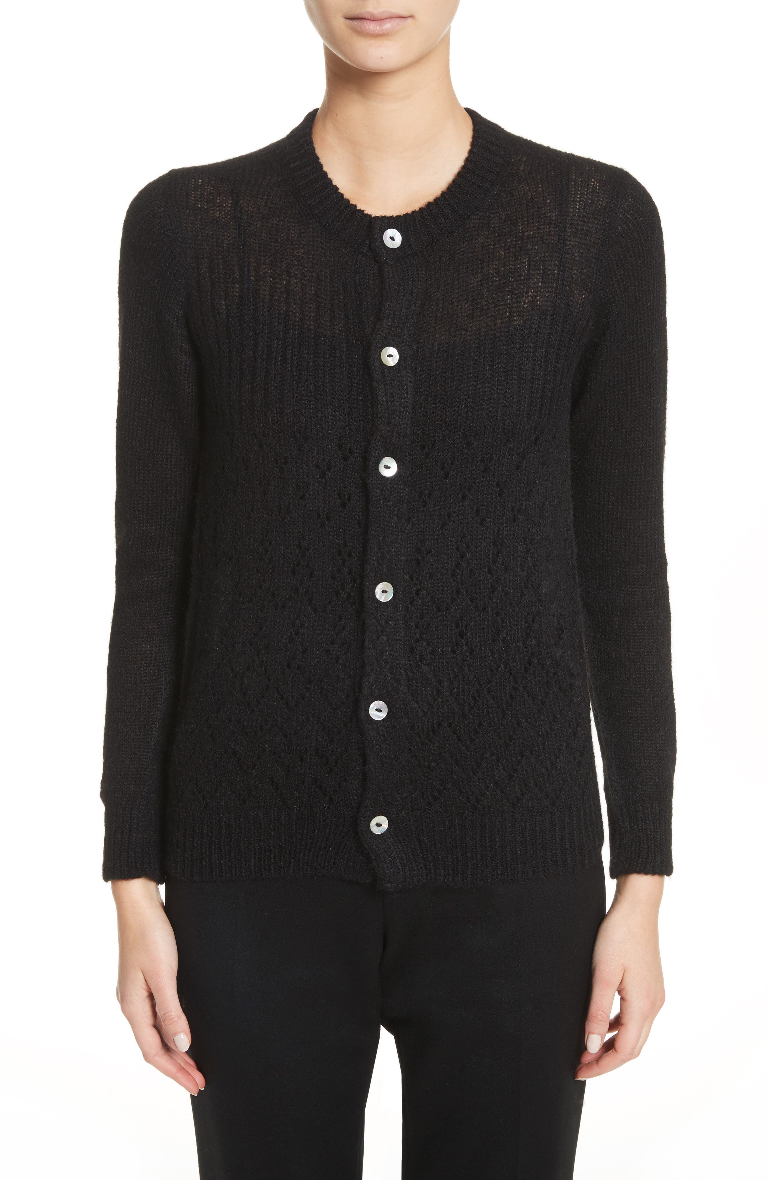 Alpaca Blend Button Cardigan,                         Main,                         color, Black