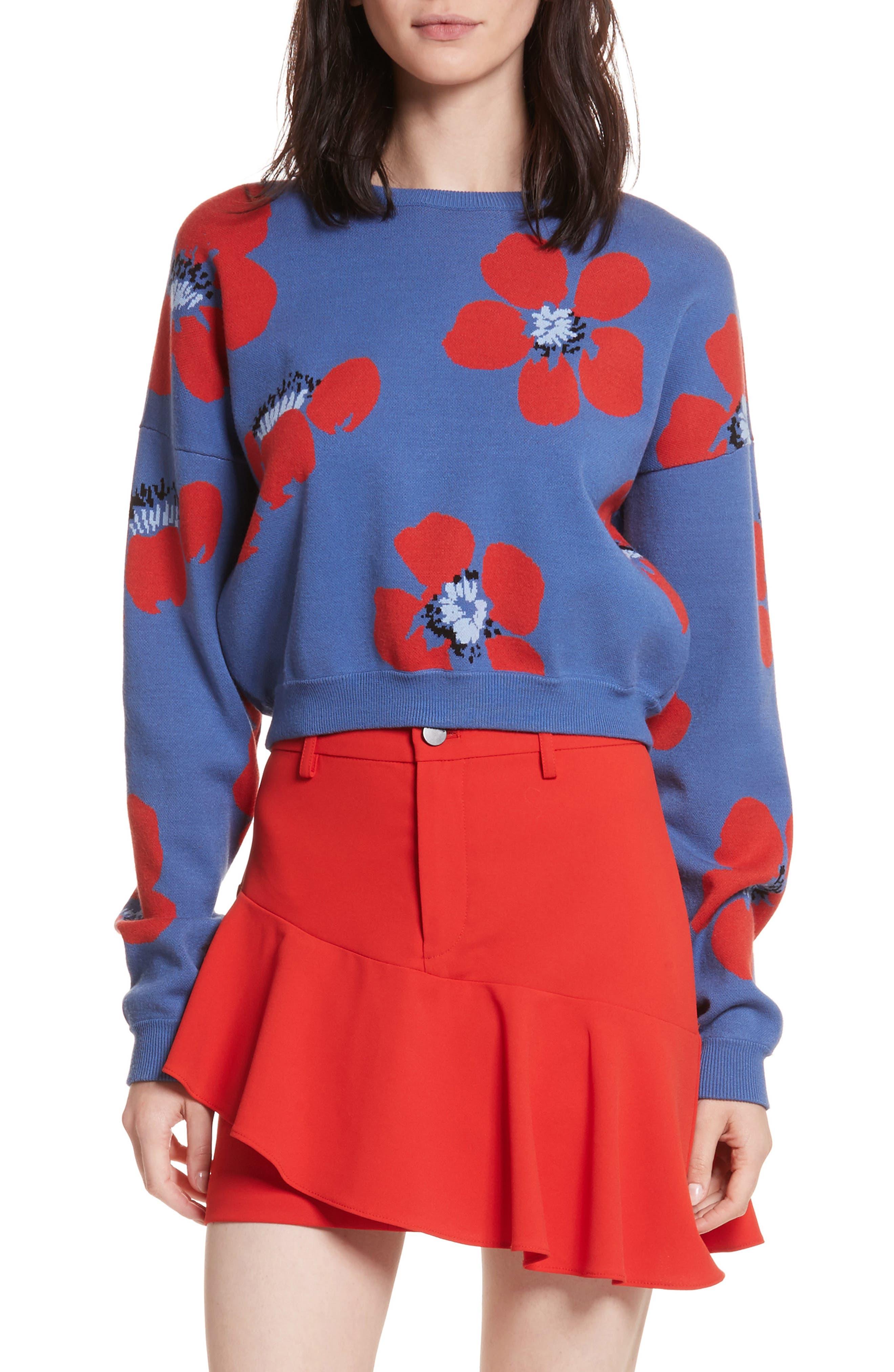 Leena Floral Crop Sweatshirt,                         Main,                         color, Blue Quartz Multi