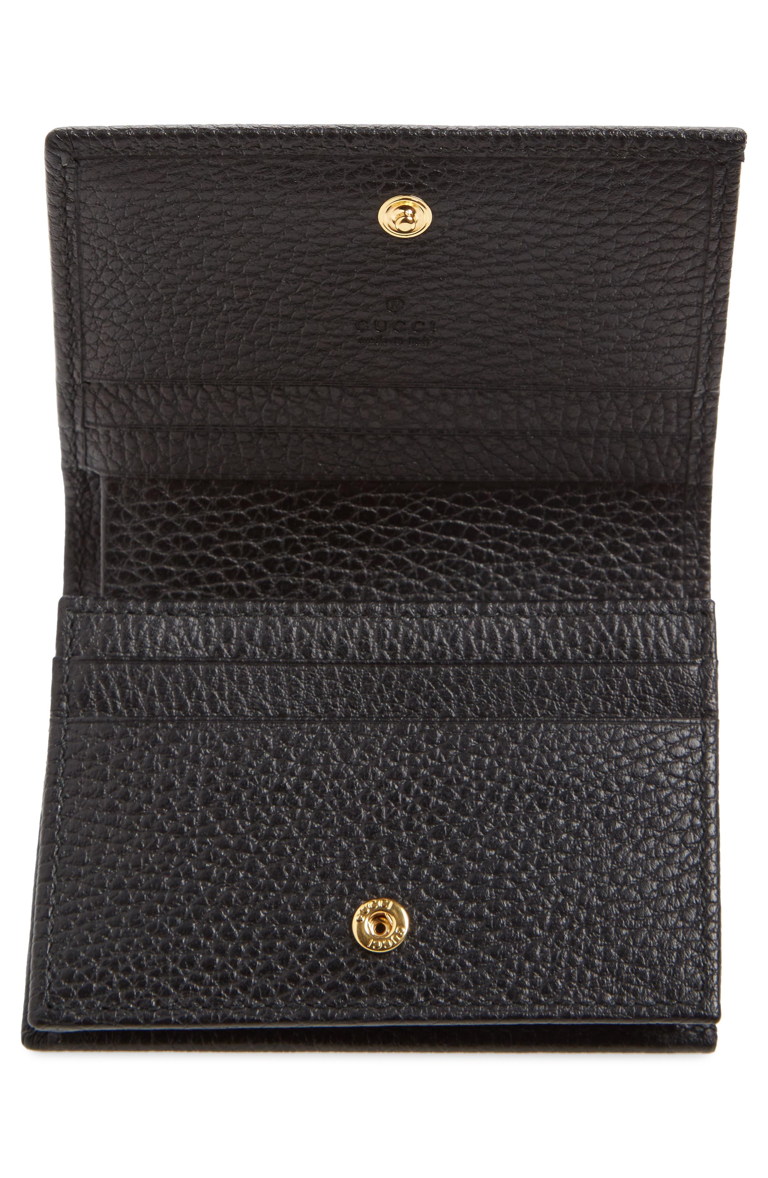 Petite Marmont Leather Card Case,                             Alternate thumbnail 2, color,                             Nero/ Nero