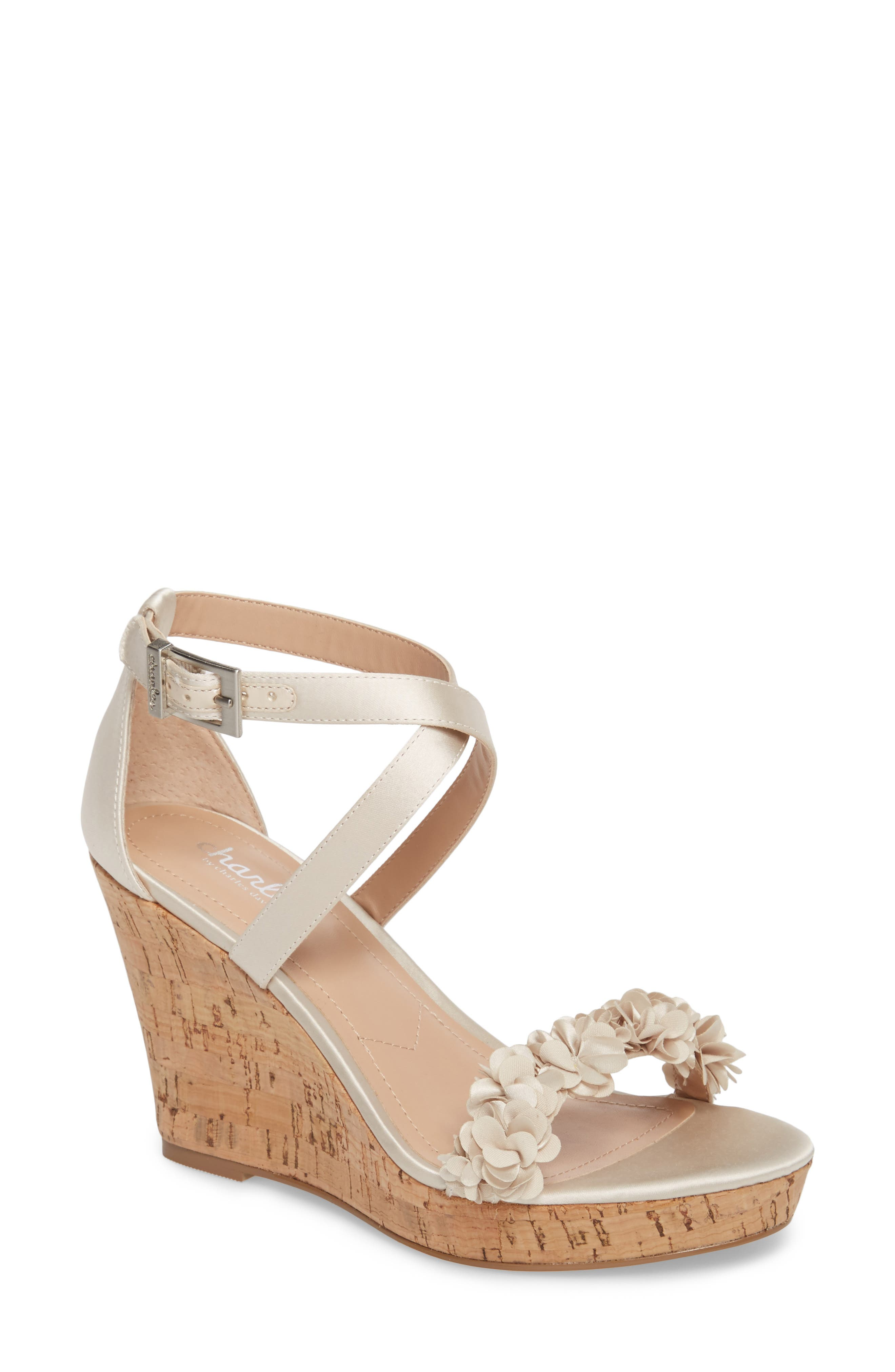 Lauryn Wedge Sandal,                         Main,                         color, Ivory Satin