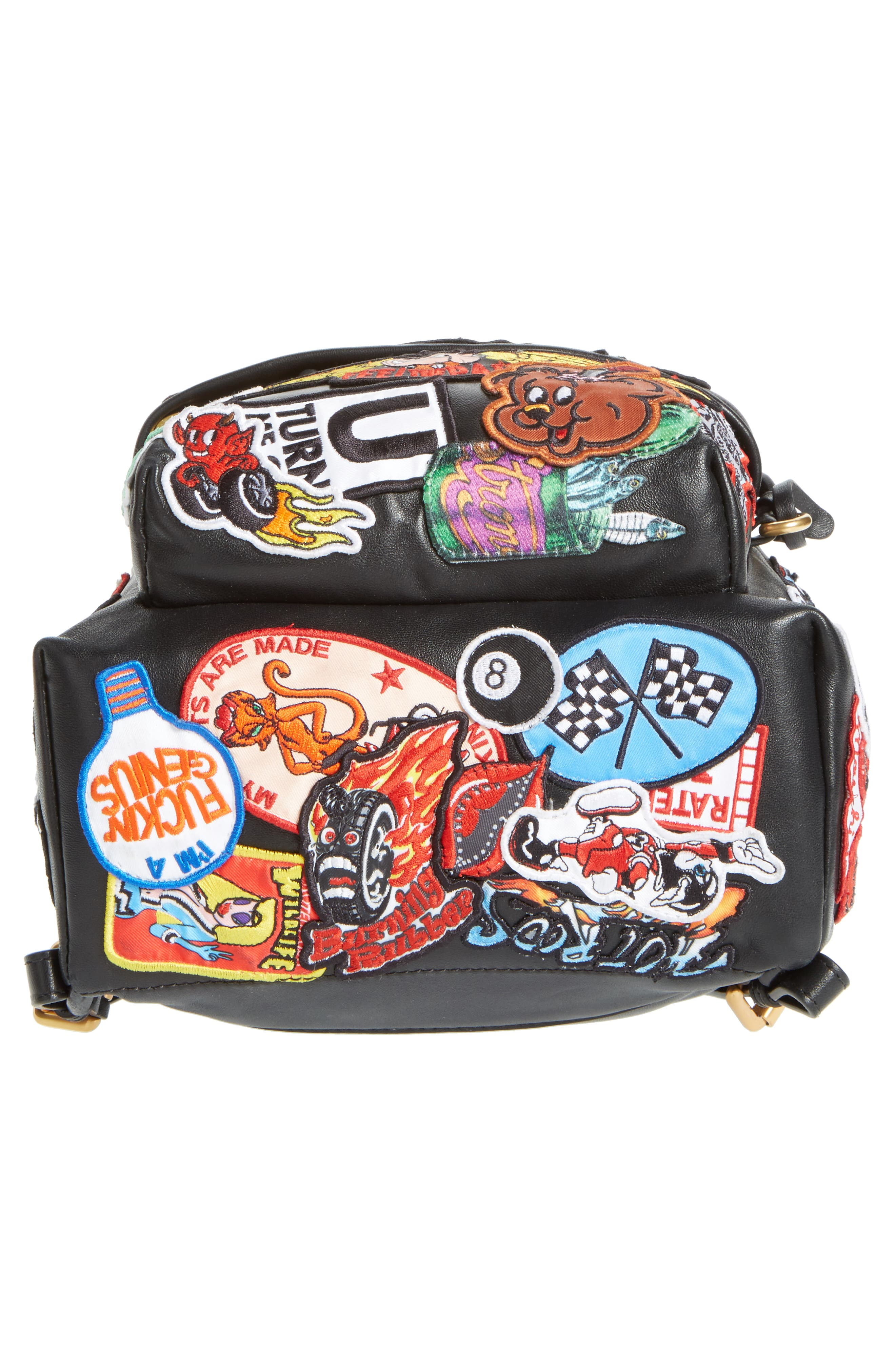 Multi Patch Leather Backpack,                             Alternate thumbnail 6, color,                             Black Multi