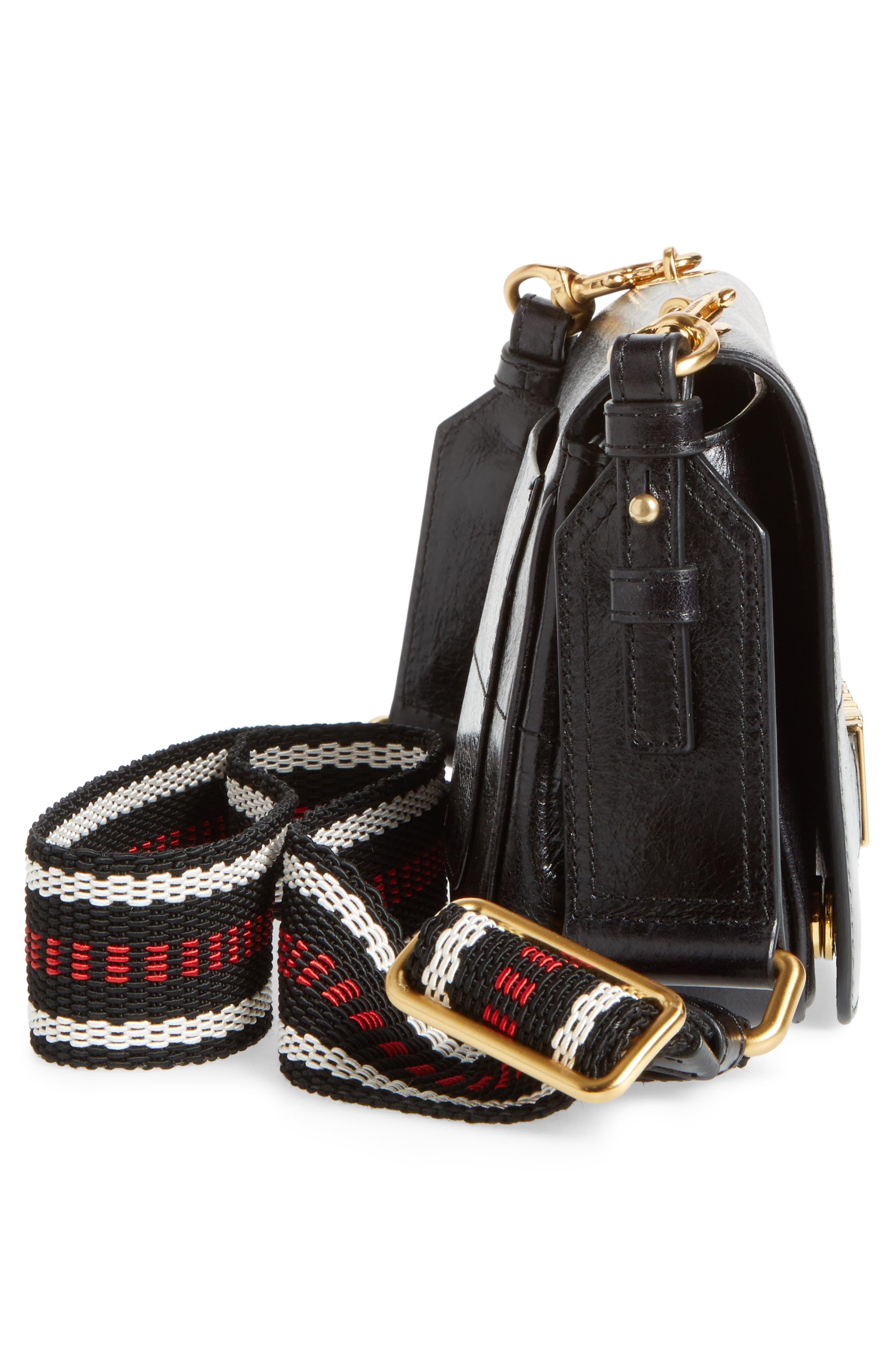 Logo Calfskin Leather Crossbody Bag,                             Alternate thumbnail 5, color,                             Black
