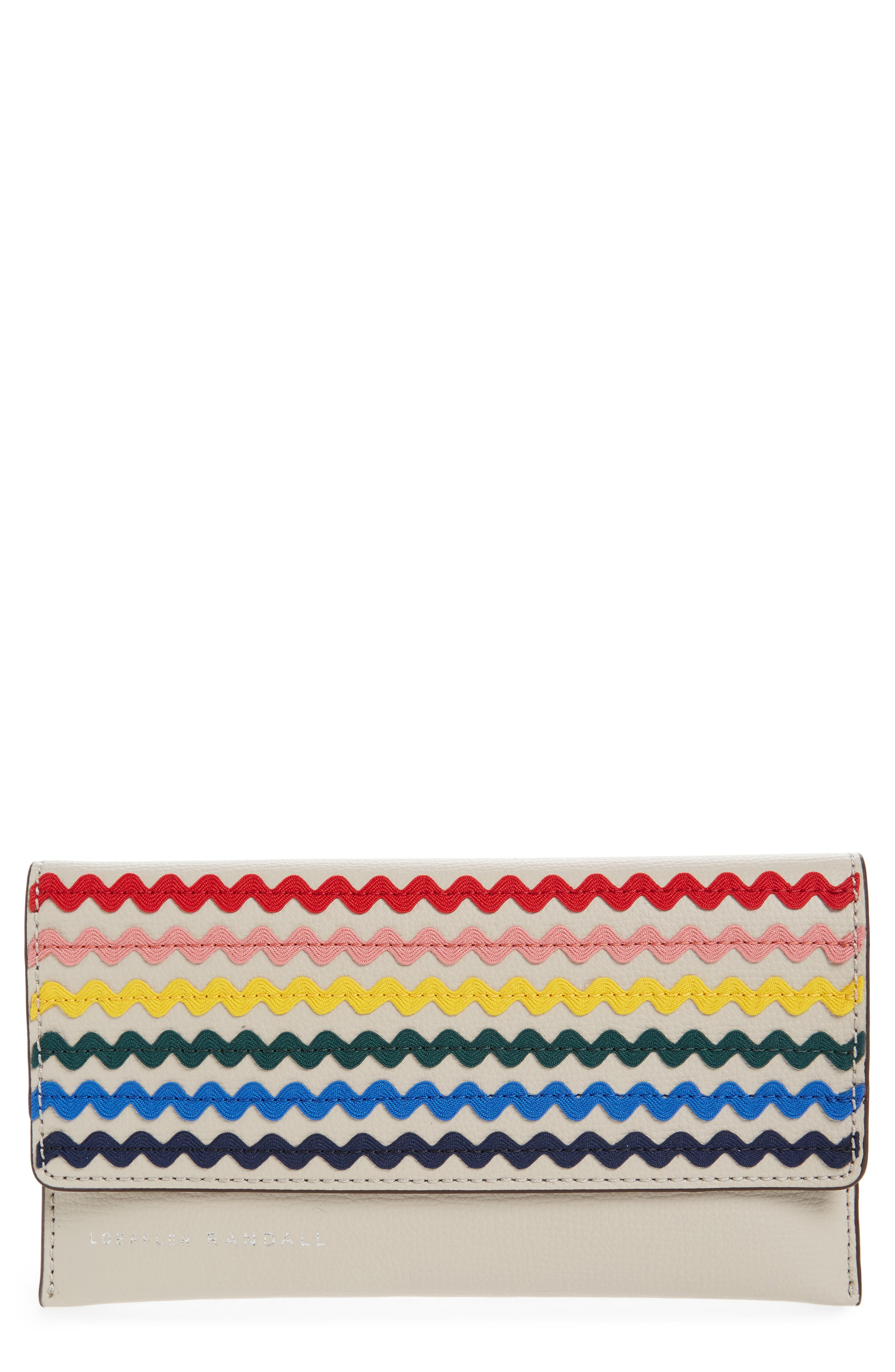 Everything Embellished Leather Wallet,                             Main thumbnail 1, color,                             Stone/ Rainbow