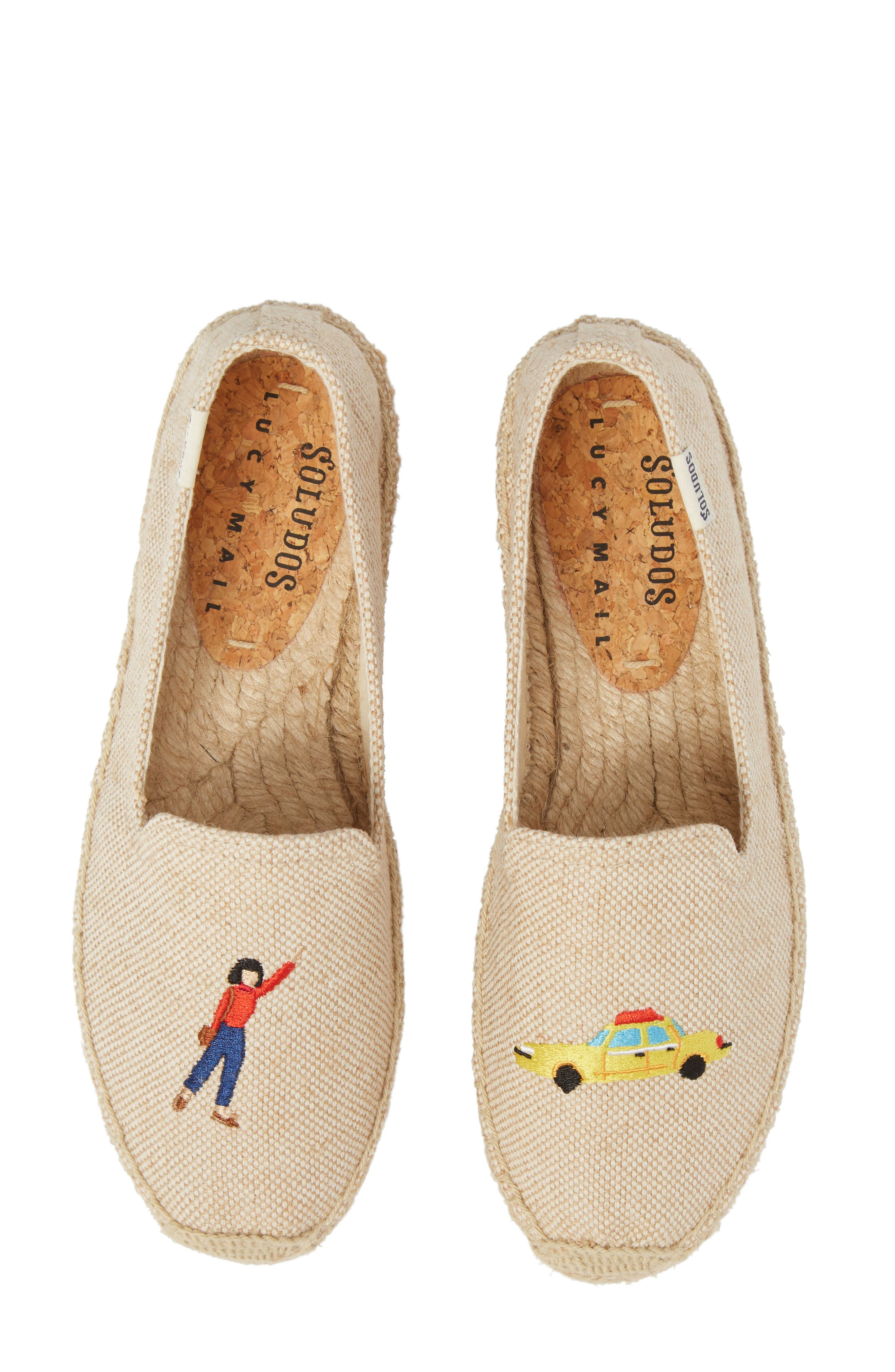 Taxi Embroidered Platform Espadrille,                         Main,                         color, Natural Canvas