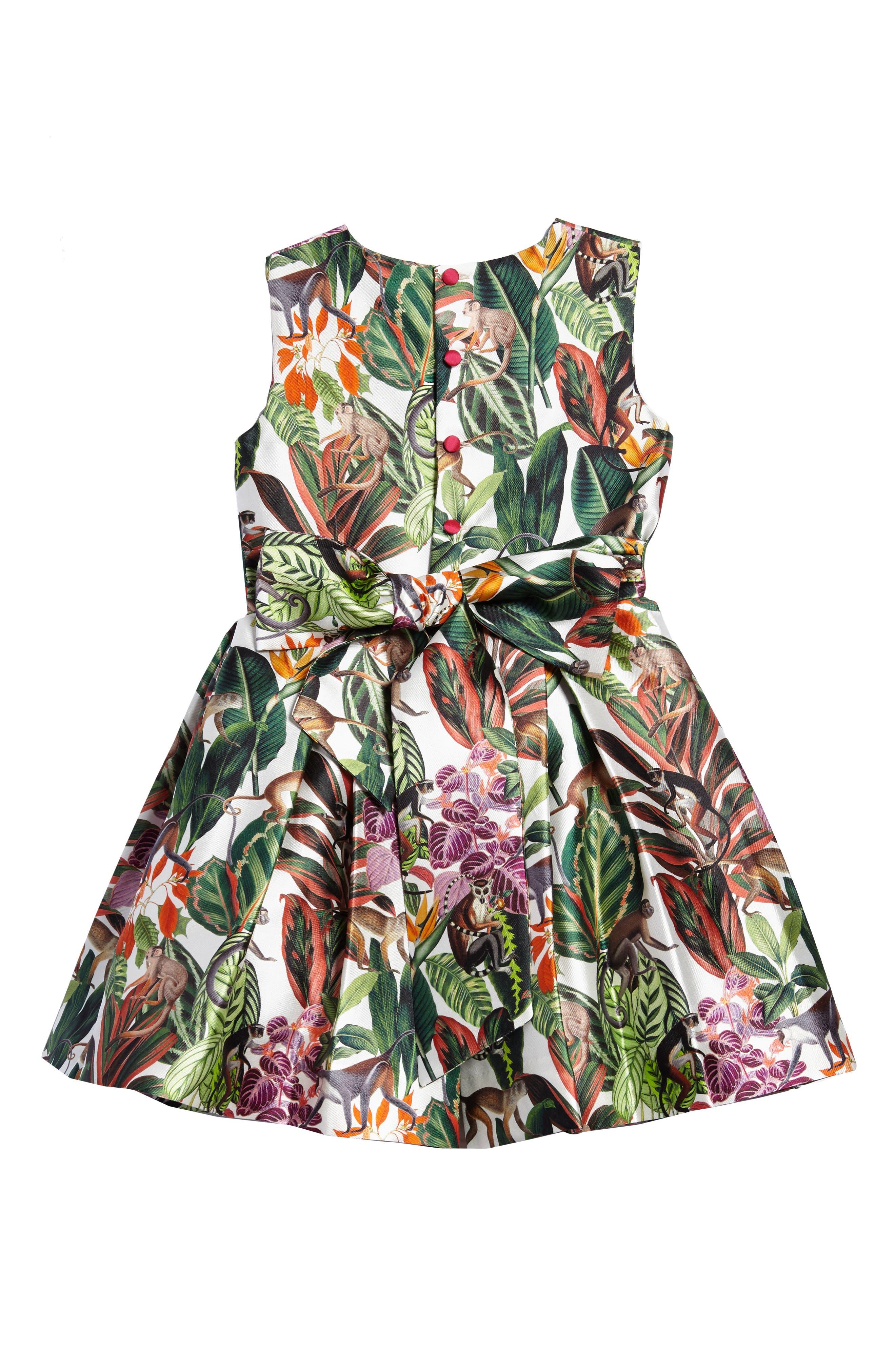 Jungle Monkey Mikado Party Dress,                             Alternate thumbnail 2, color,                             Jungle Green
