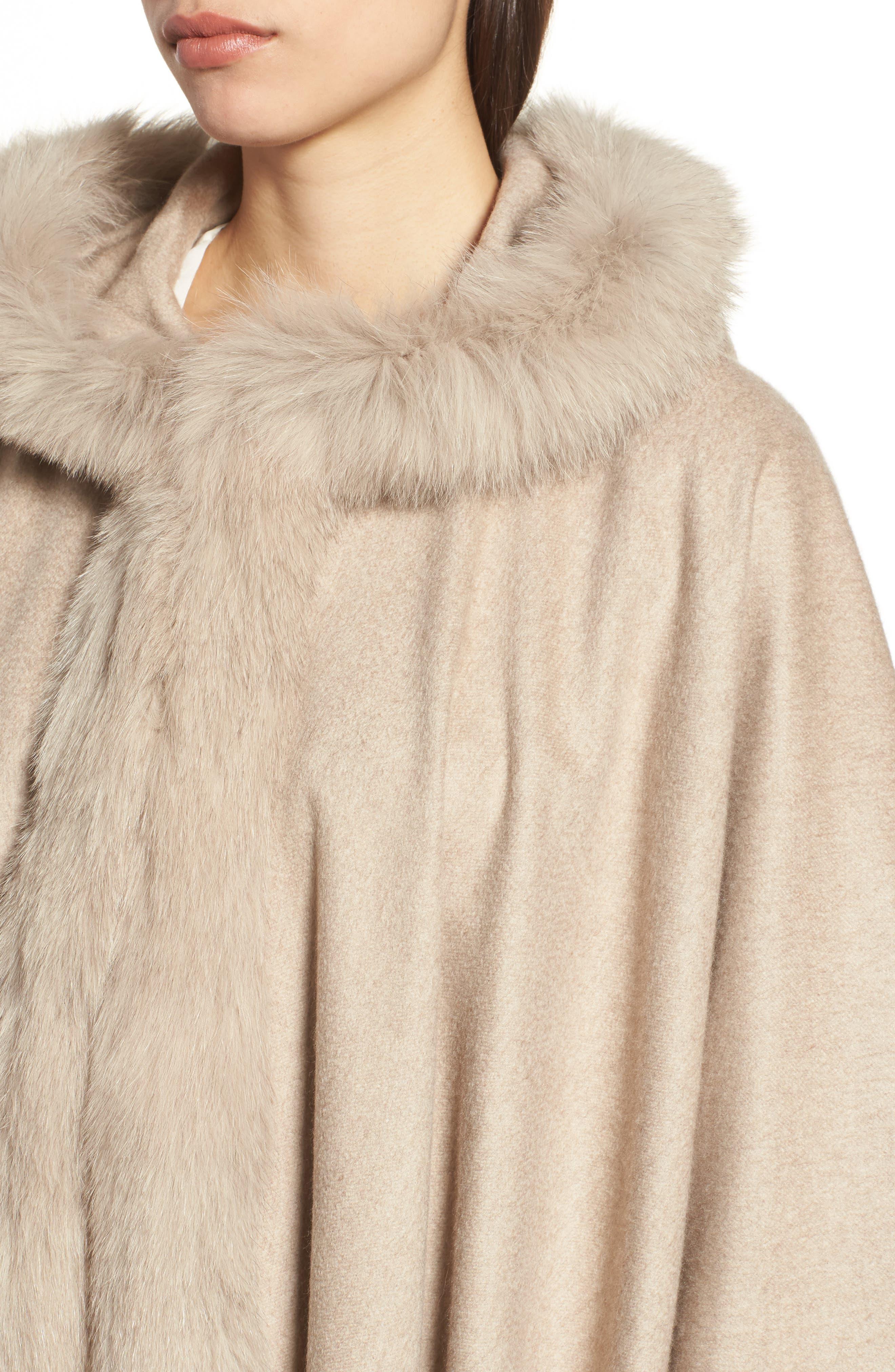 Alternate Image 4  - Max Mara Cashmere Hooded Cape with Genuine Fox Fur Trim