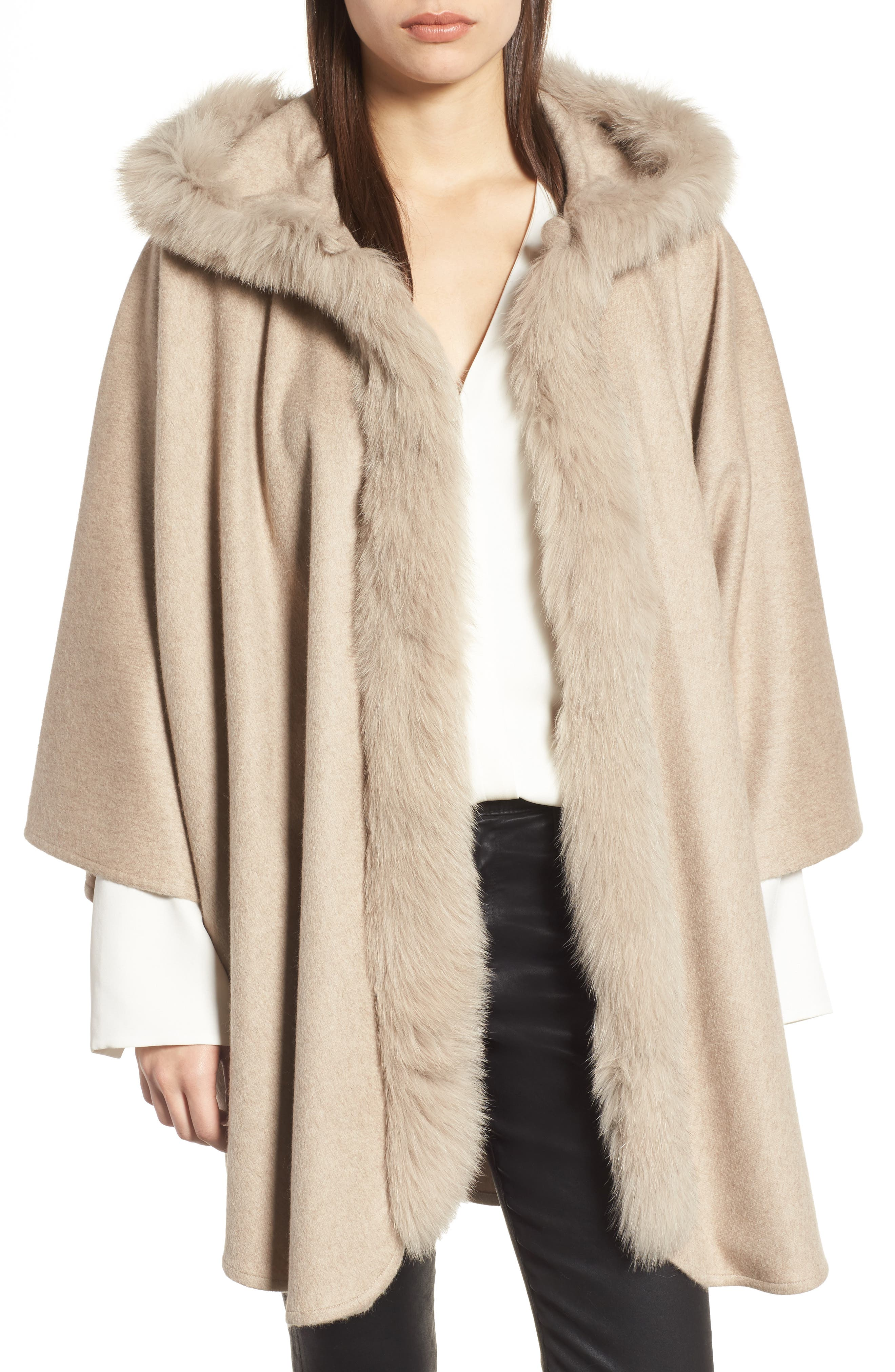 Cashmere Hooded Cape with Genuine Fox Fur Trim,                         Main,                         color, Beige