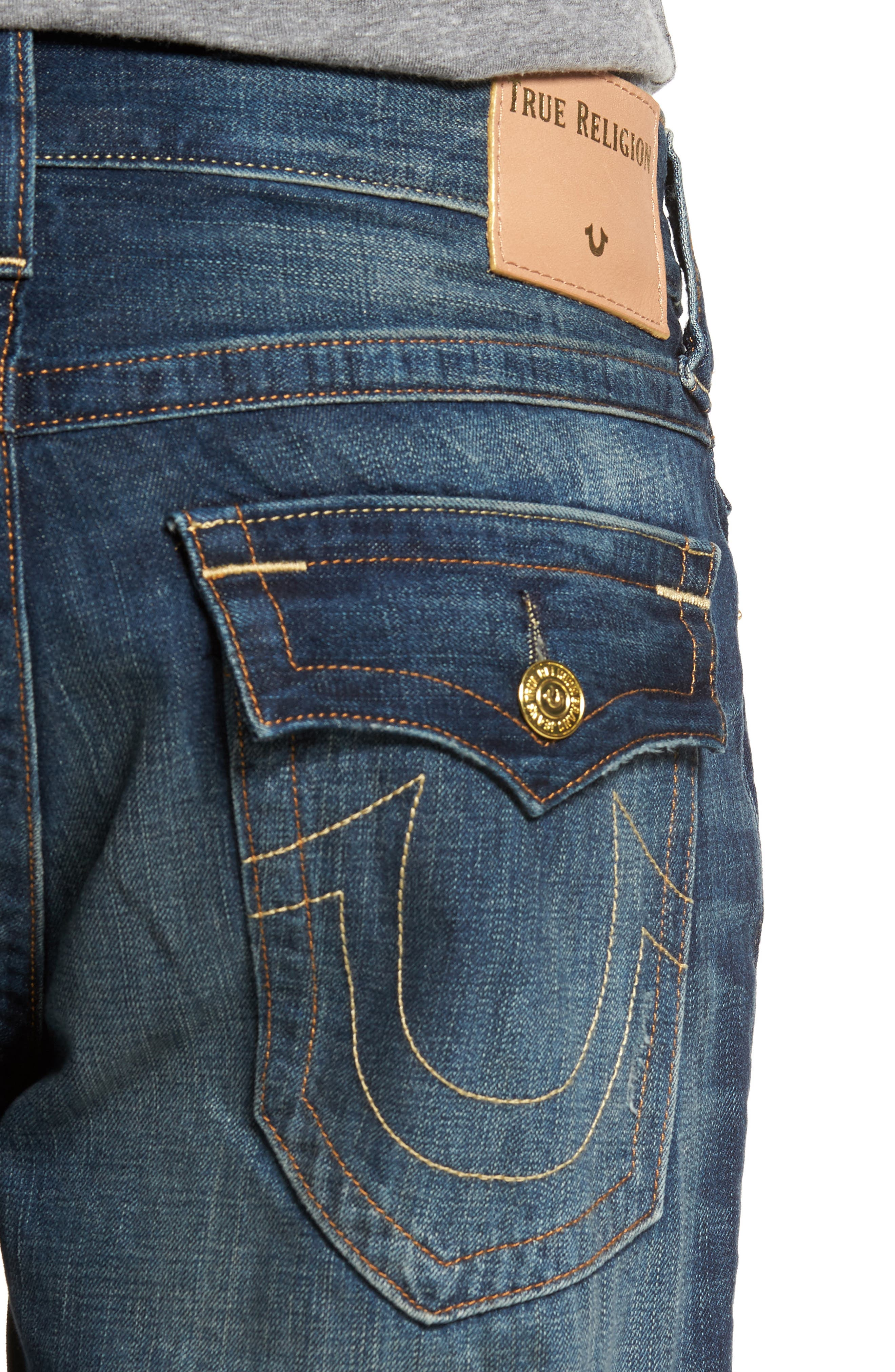 Alternate Image 4  - True Religion Brand Jeans Geno Straight Leg Jeans (Mended Center Stage)