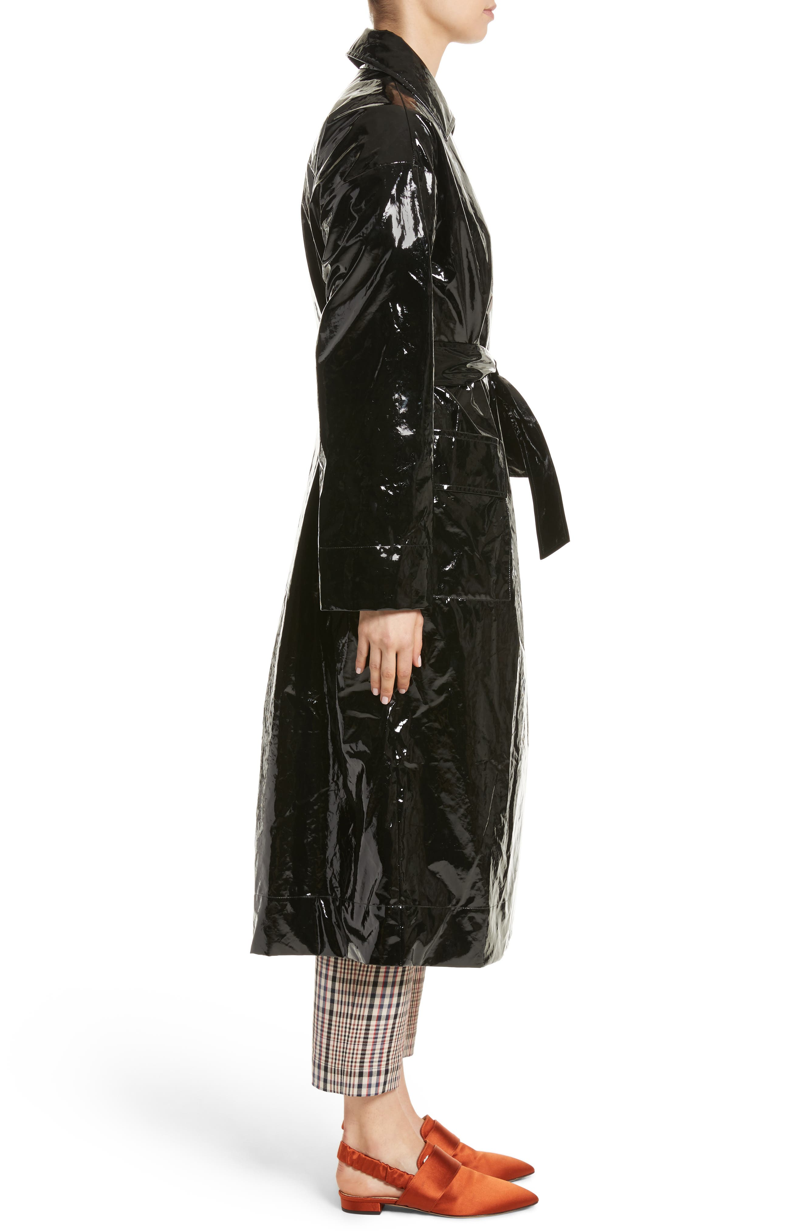 Classic Relaxed Trench Coat,                             Alternate thumbnail 3, color,                             Black