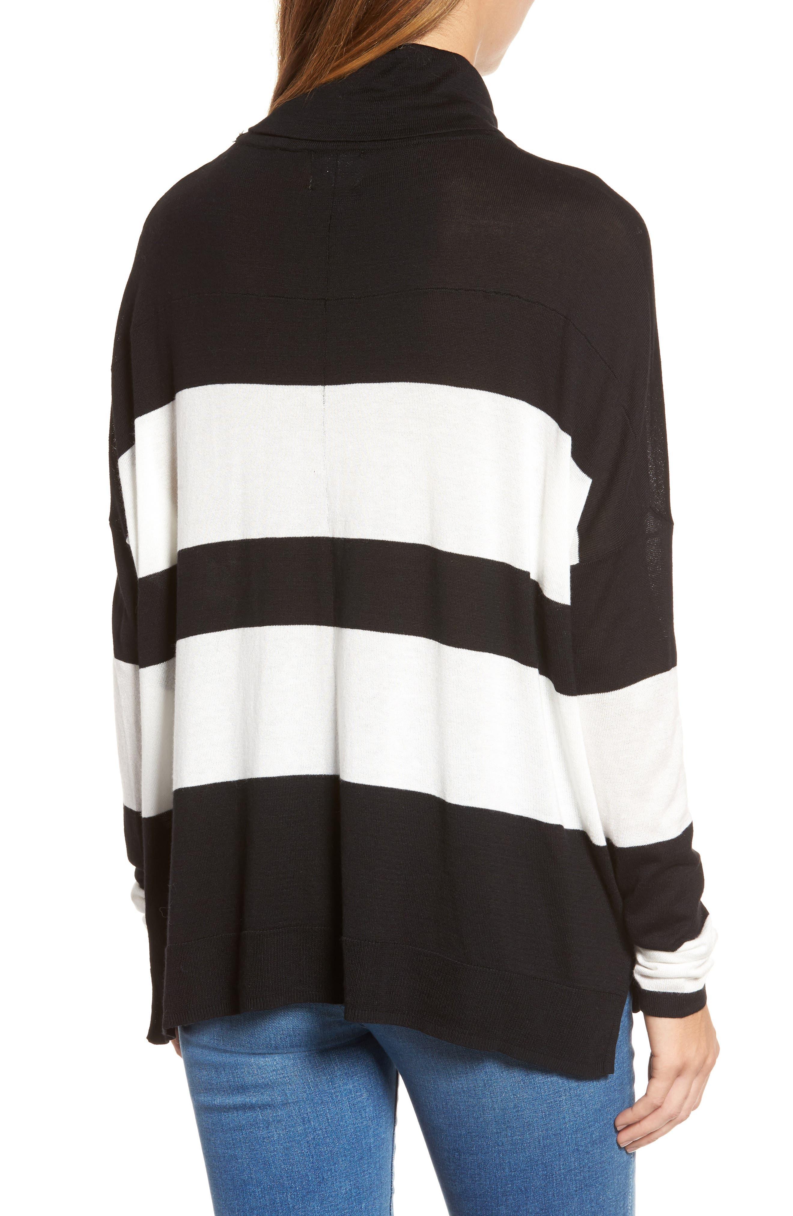 Wide Stripe Turtleneck Sweater,                             Alternate thumbnail 2, color,                             Black Cream