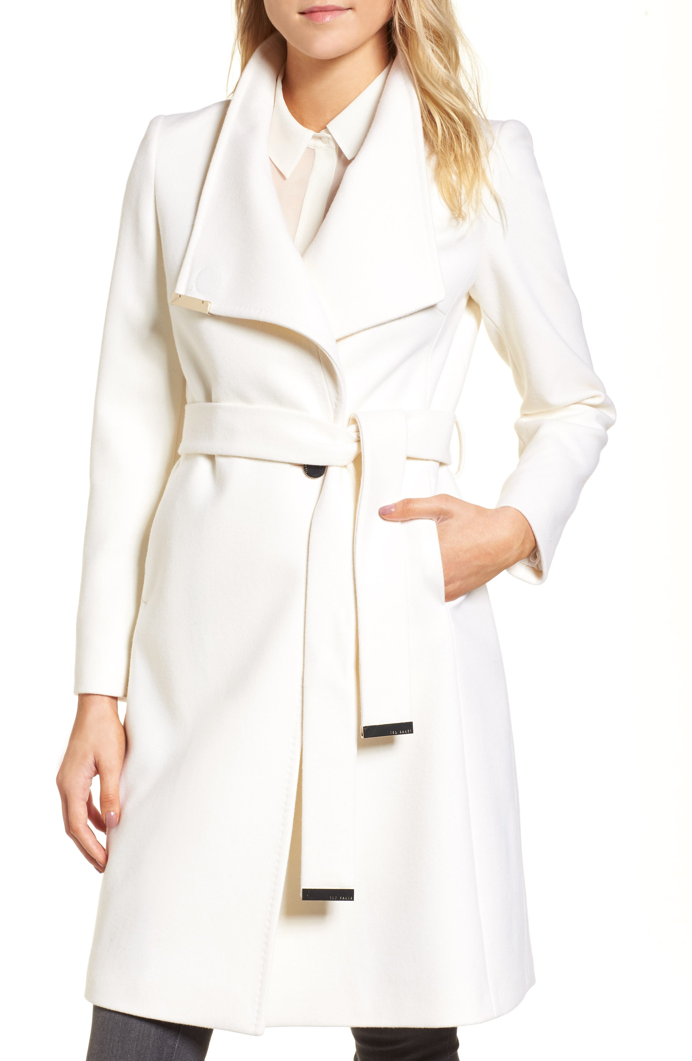 Alternate Image 1 Selected - Ted Baker London Wool Blend Long Wrap Coat