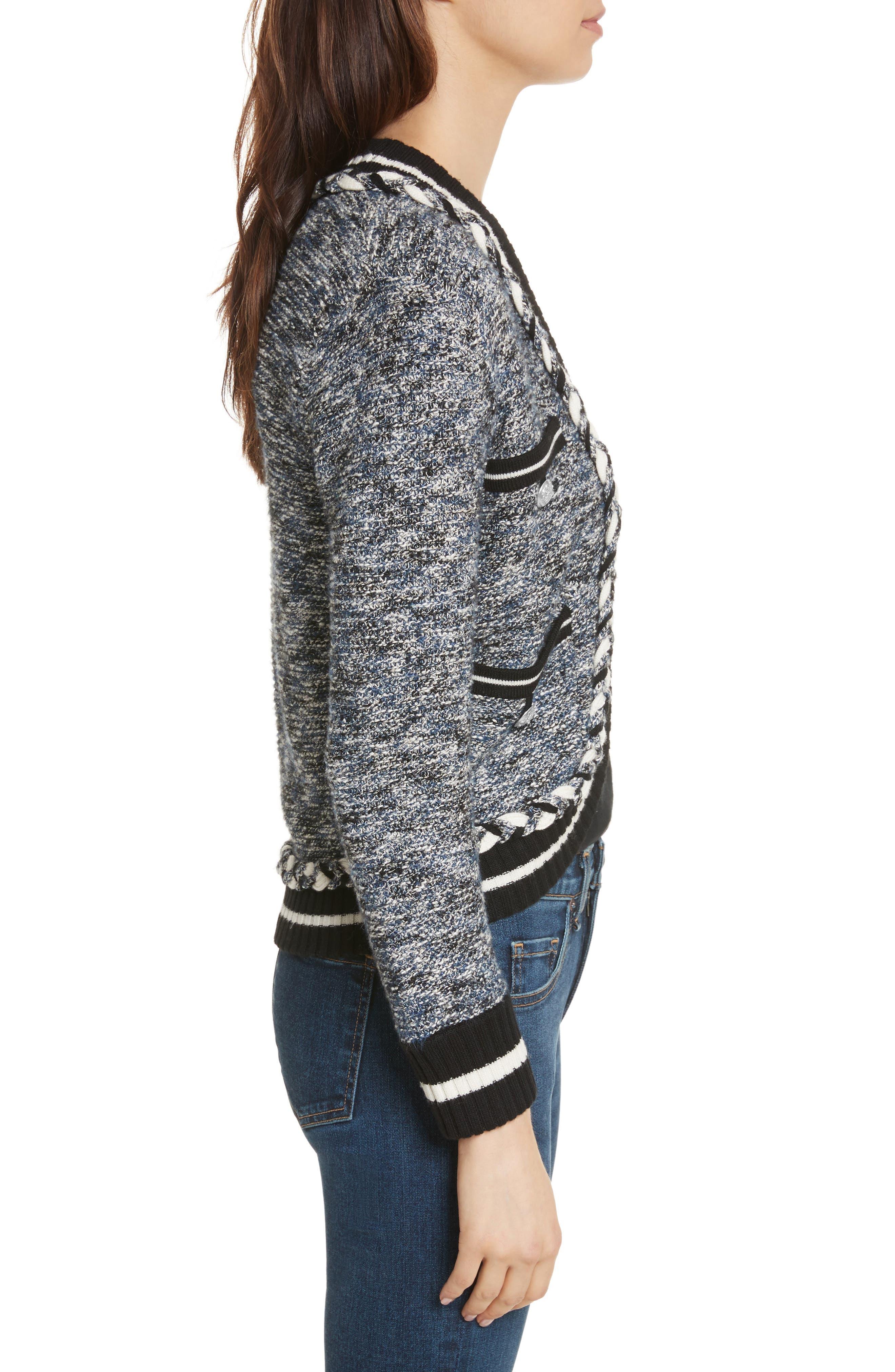 Davis Tweed Sweater Jacket,                             Alternate thumbnail 3, color,                             Navy