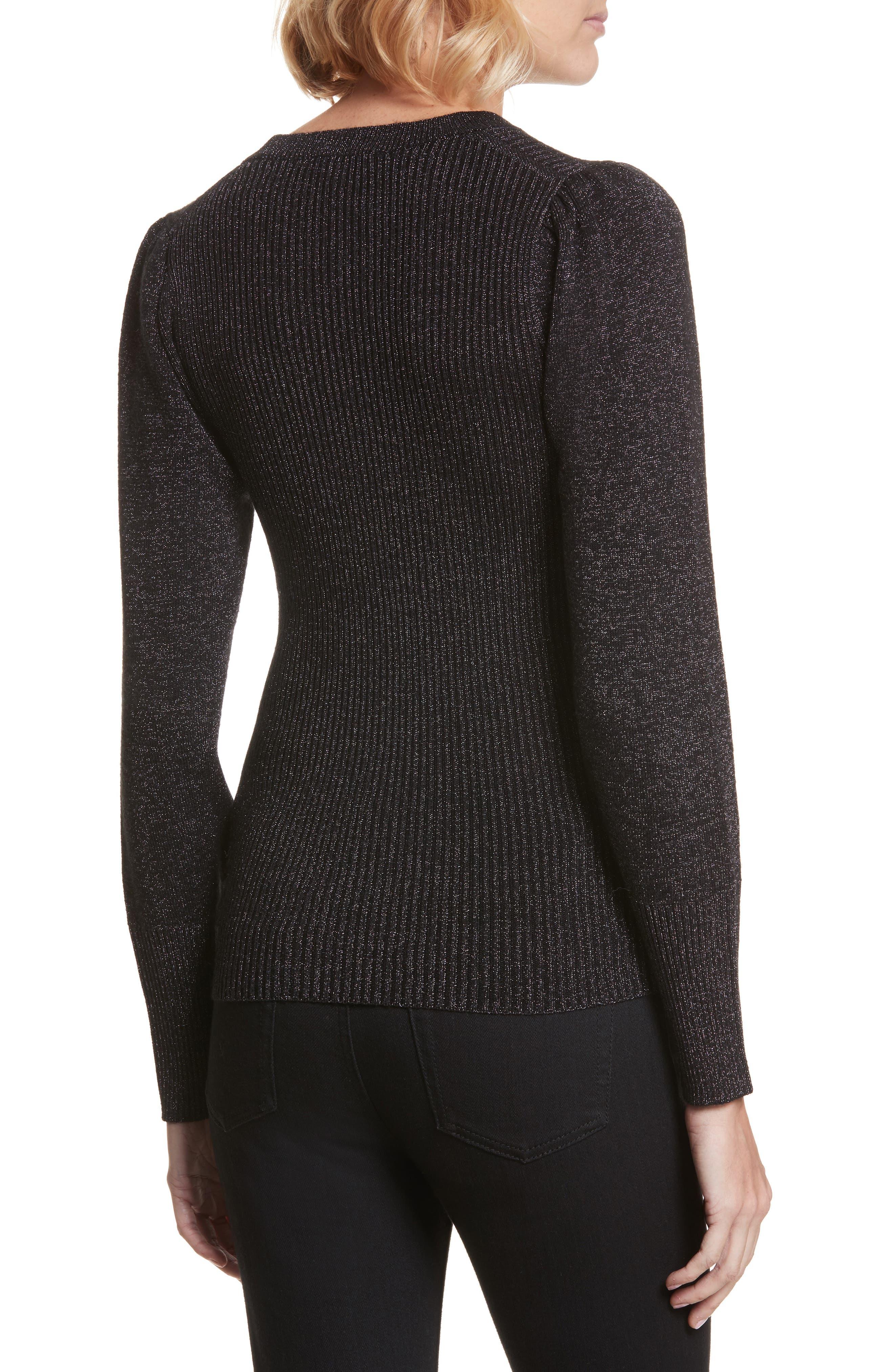 Metallic Ribbed Pullover,                             Alternate thumbnail 2, color,                             Black Combo