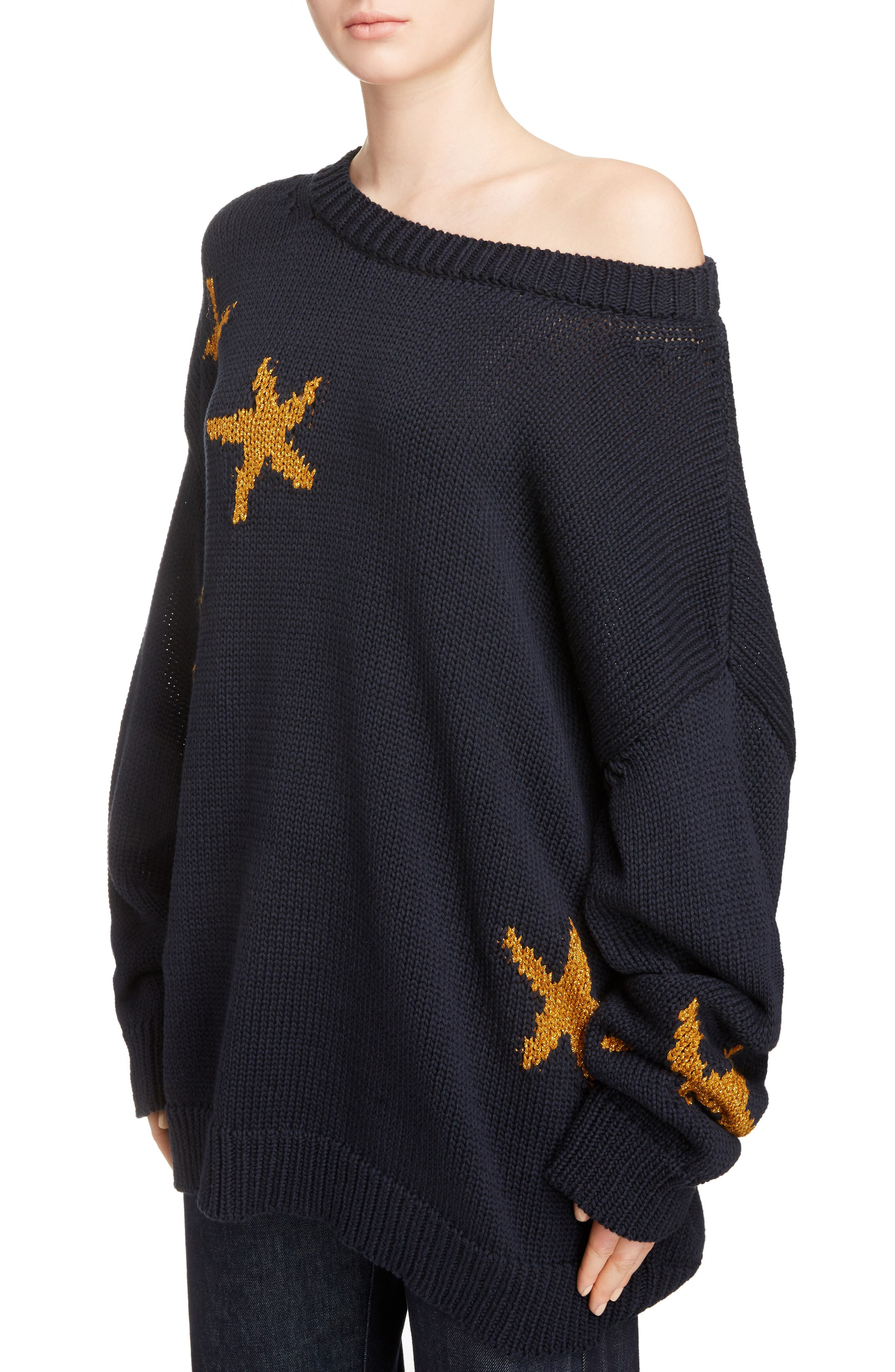 Starfish Intarsia Sweater,                             Alternate thumbnail 5, color,                             Navy