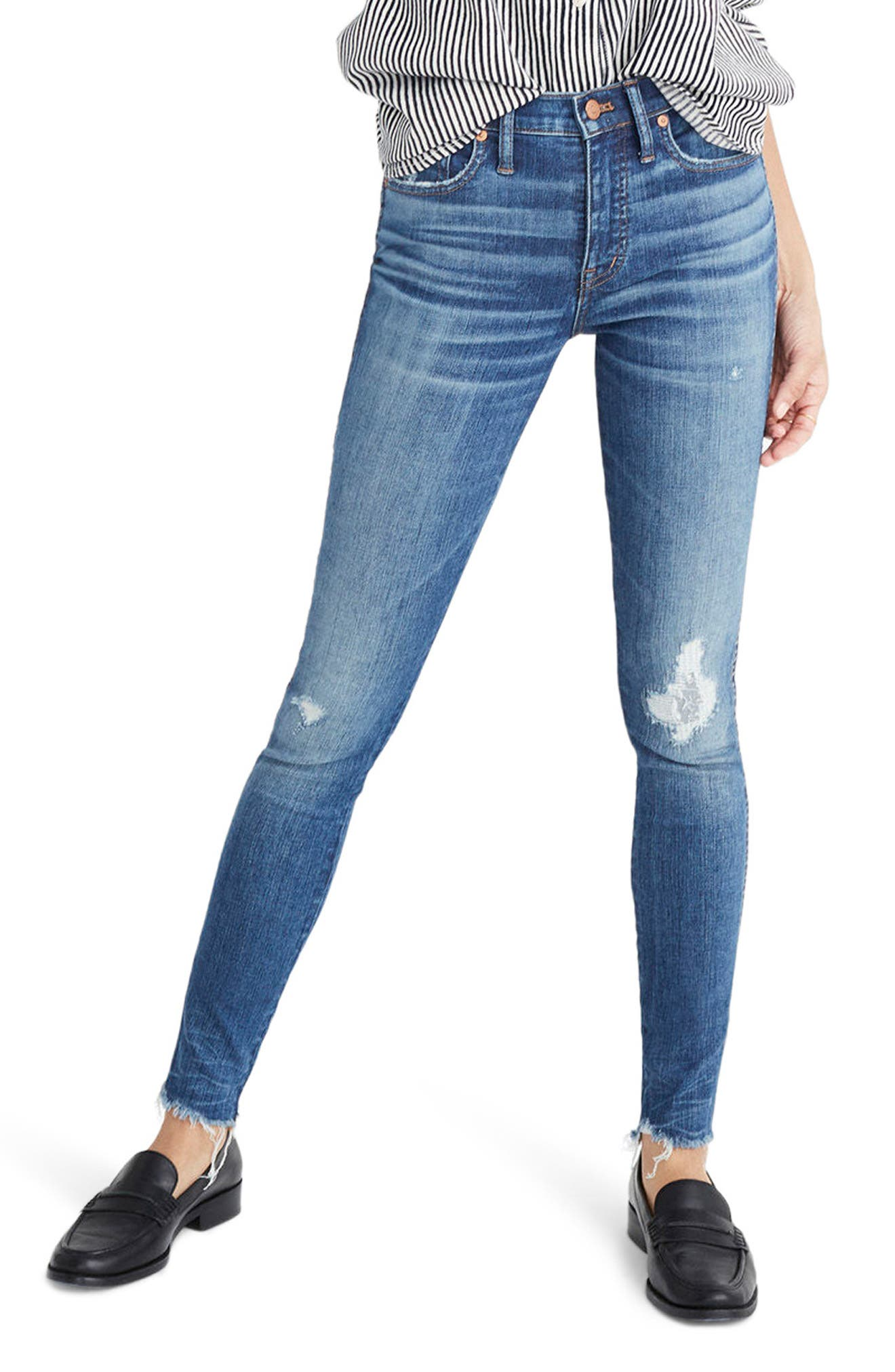 9-Inch High Waist Ankle Skinny Jeans,                         Main,                         color, Allegra
