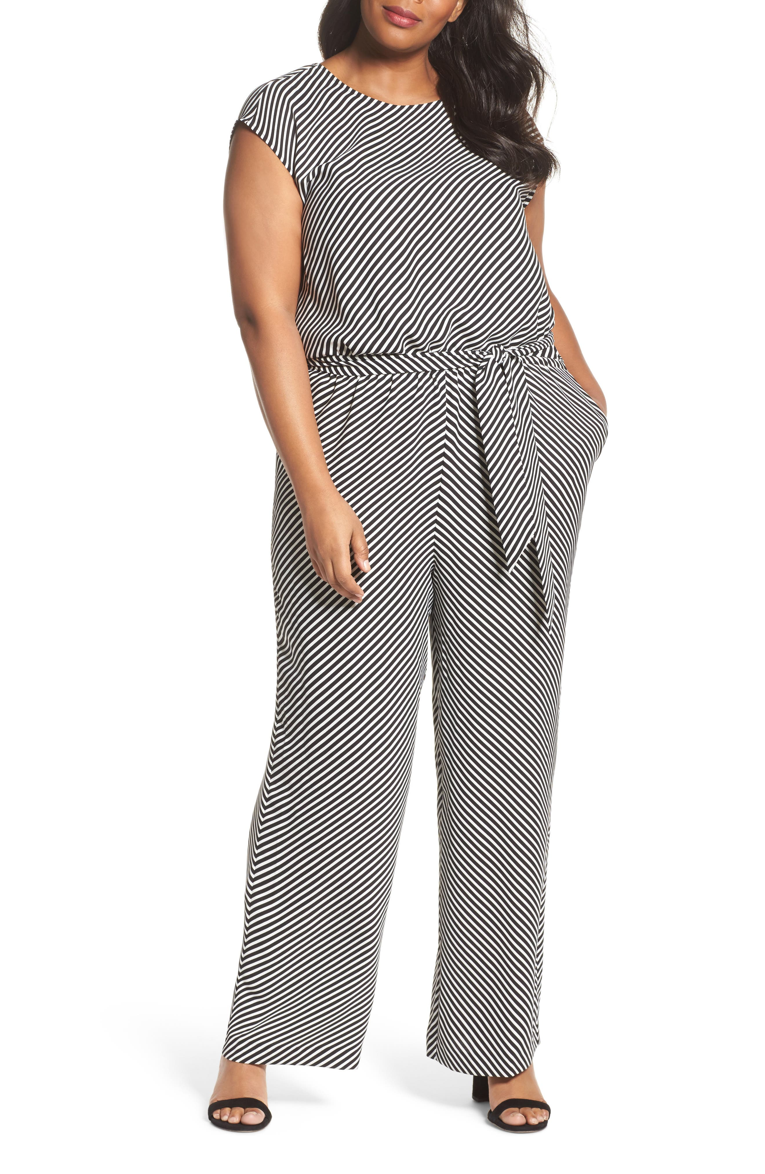 Main Image - Vince Camuto Diagonal Stripe Belted Jumpsuit (Plus Size)