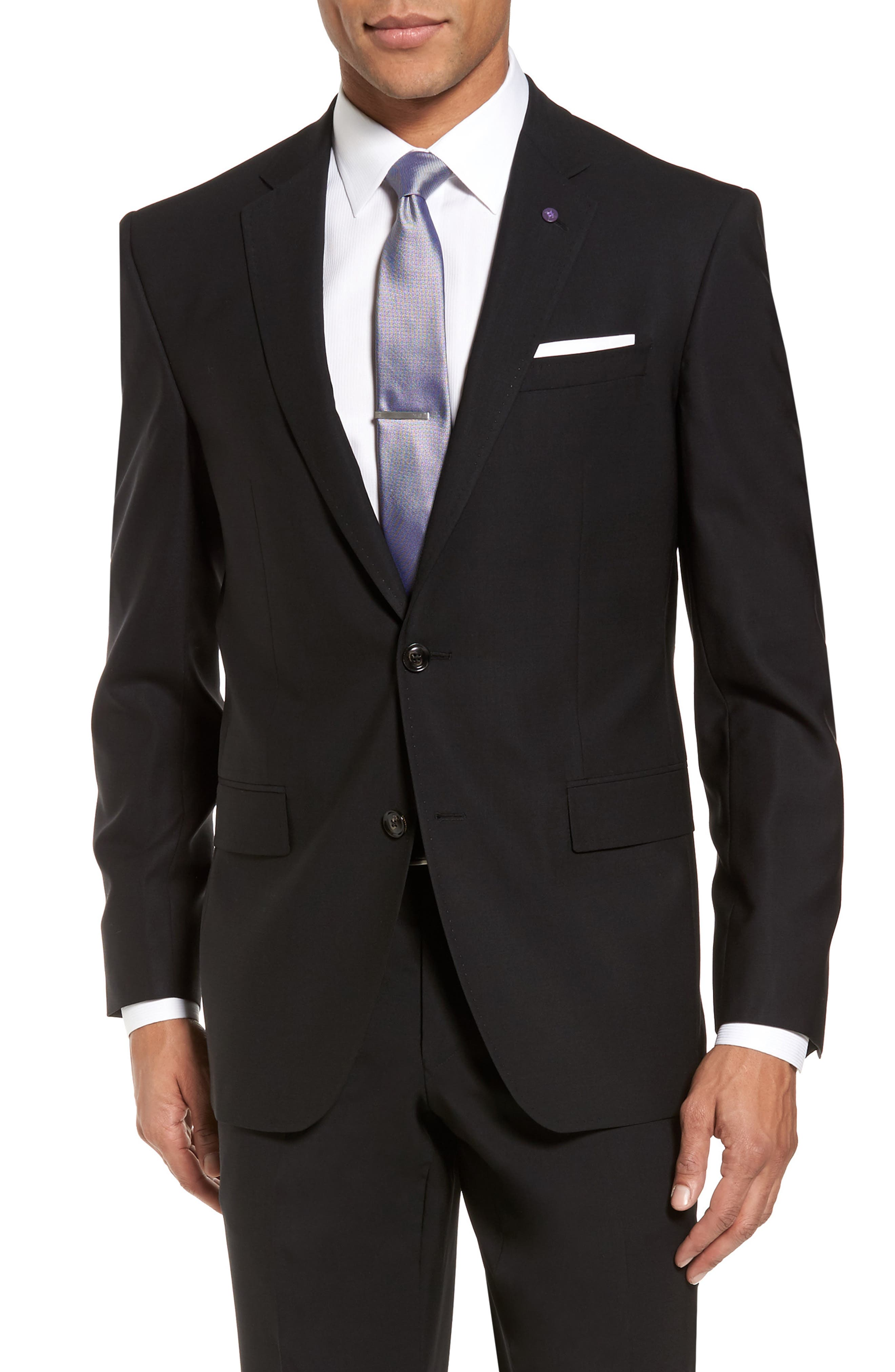 Jay Trim Fit Solid Wool Suit,                             Alternate thumbnail 5, color,                             Black