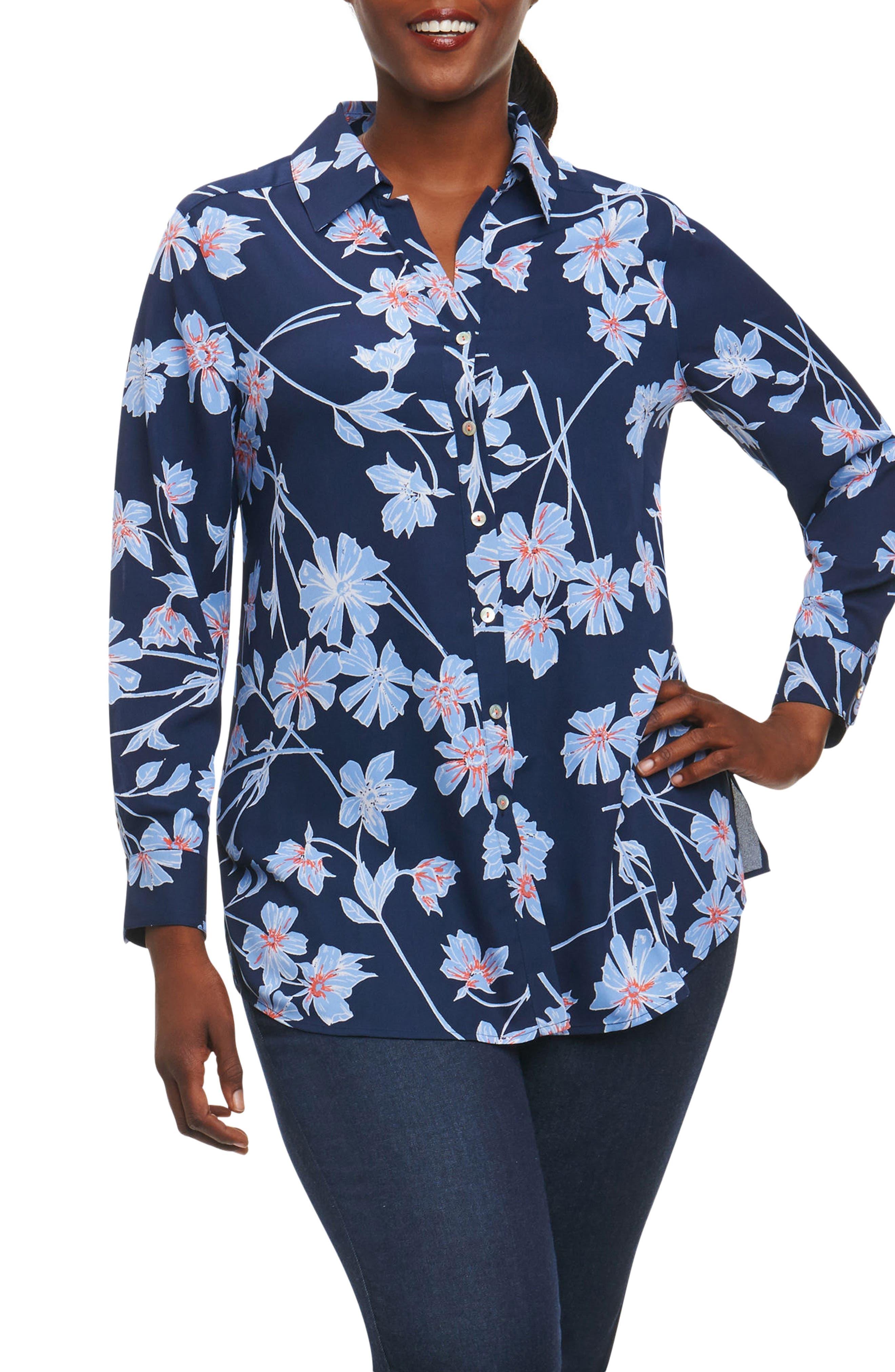 Main Image - Foxcroft Ivy Coastal Floral Shirt (Plus Size)