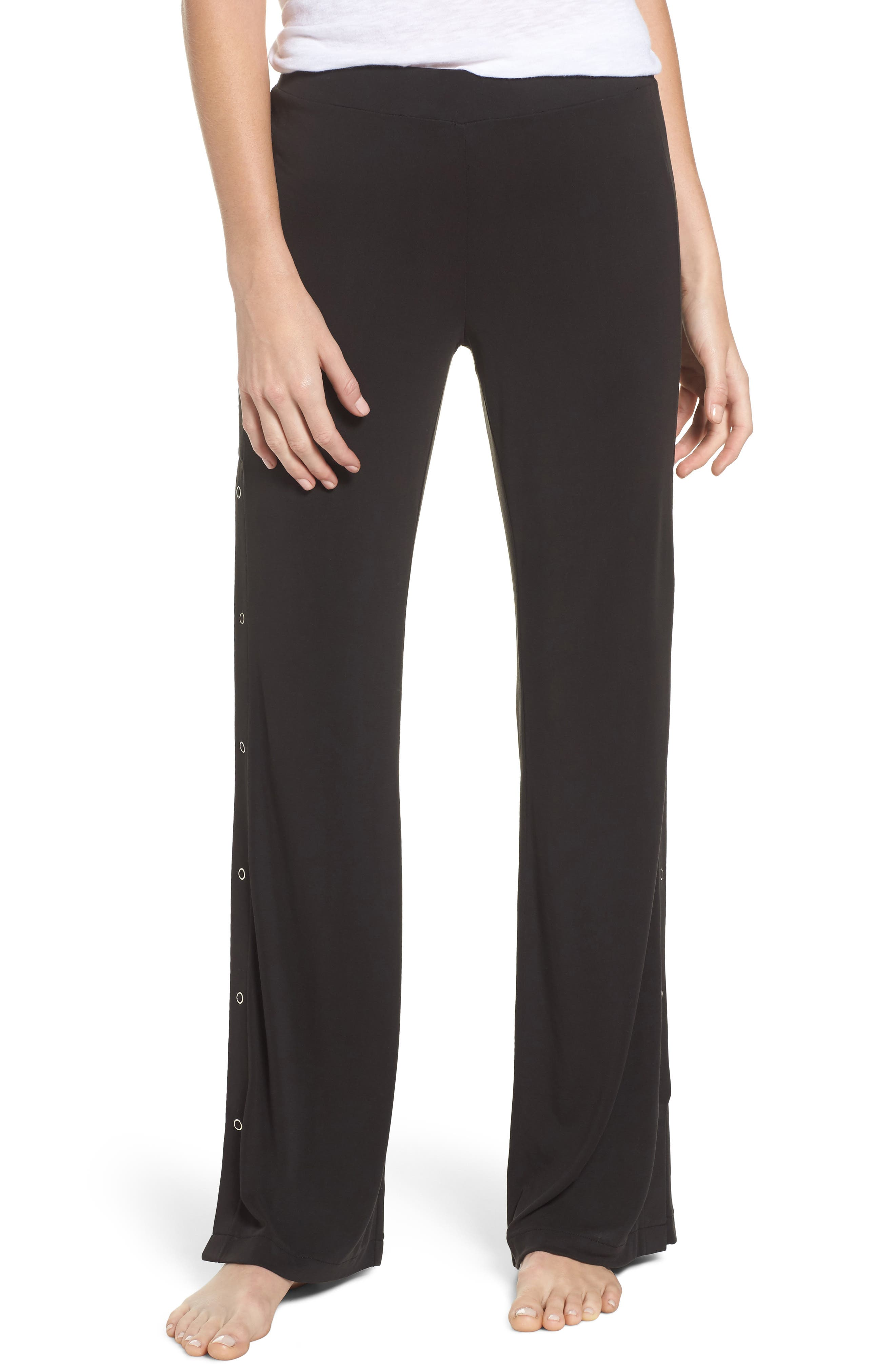 Higgens Side Snap Lounge Pants,                             Main thumbnail 1, color,                             Black