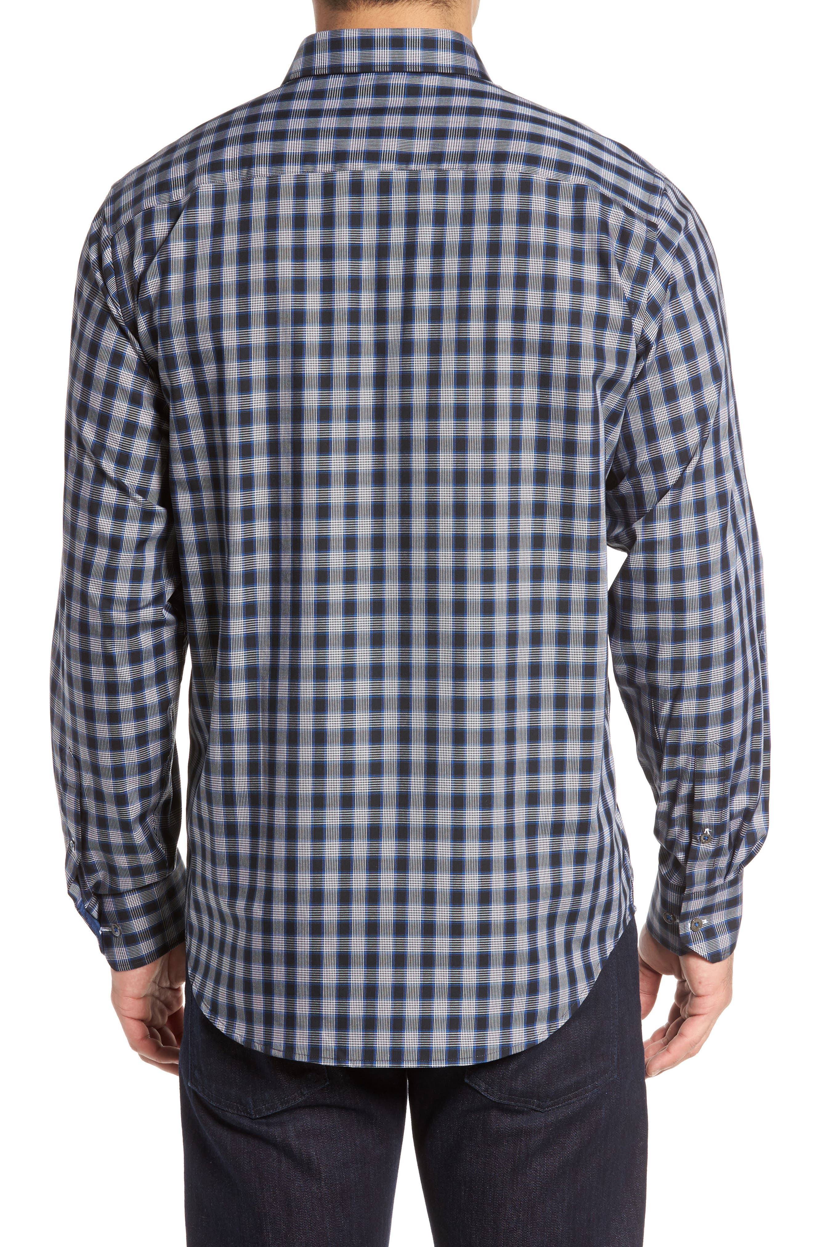 Classic Fit Check Sport Shirt,                             Alternate thumbnail 2, color,                             Midnight