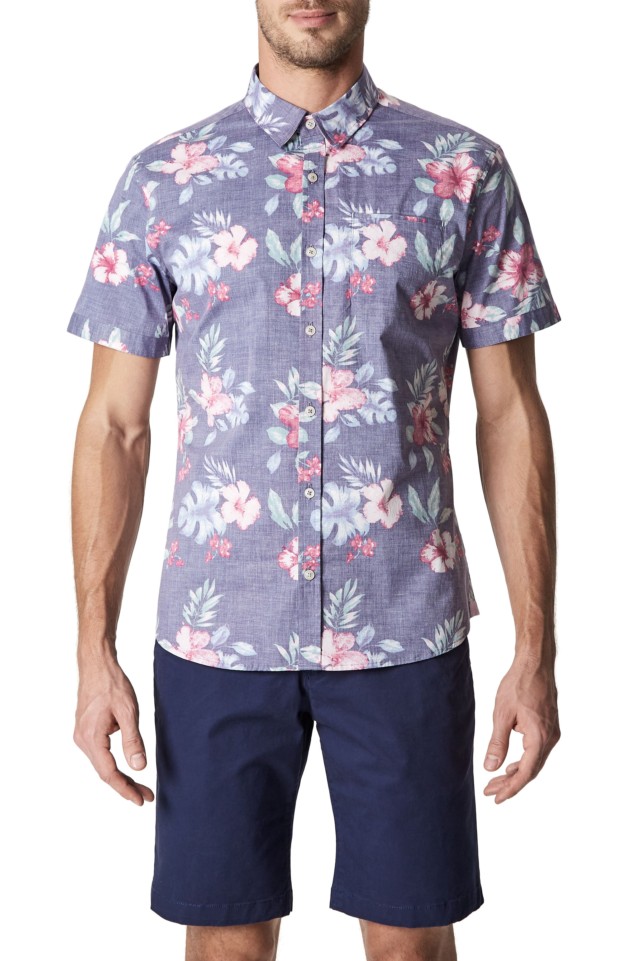 7 Diamonds More Colors Floral Woven Sport Shirt