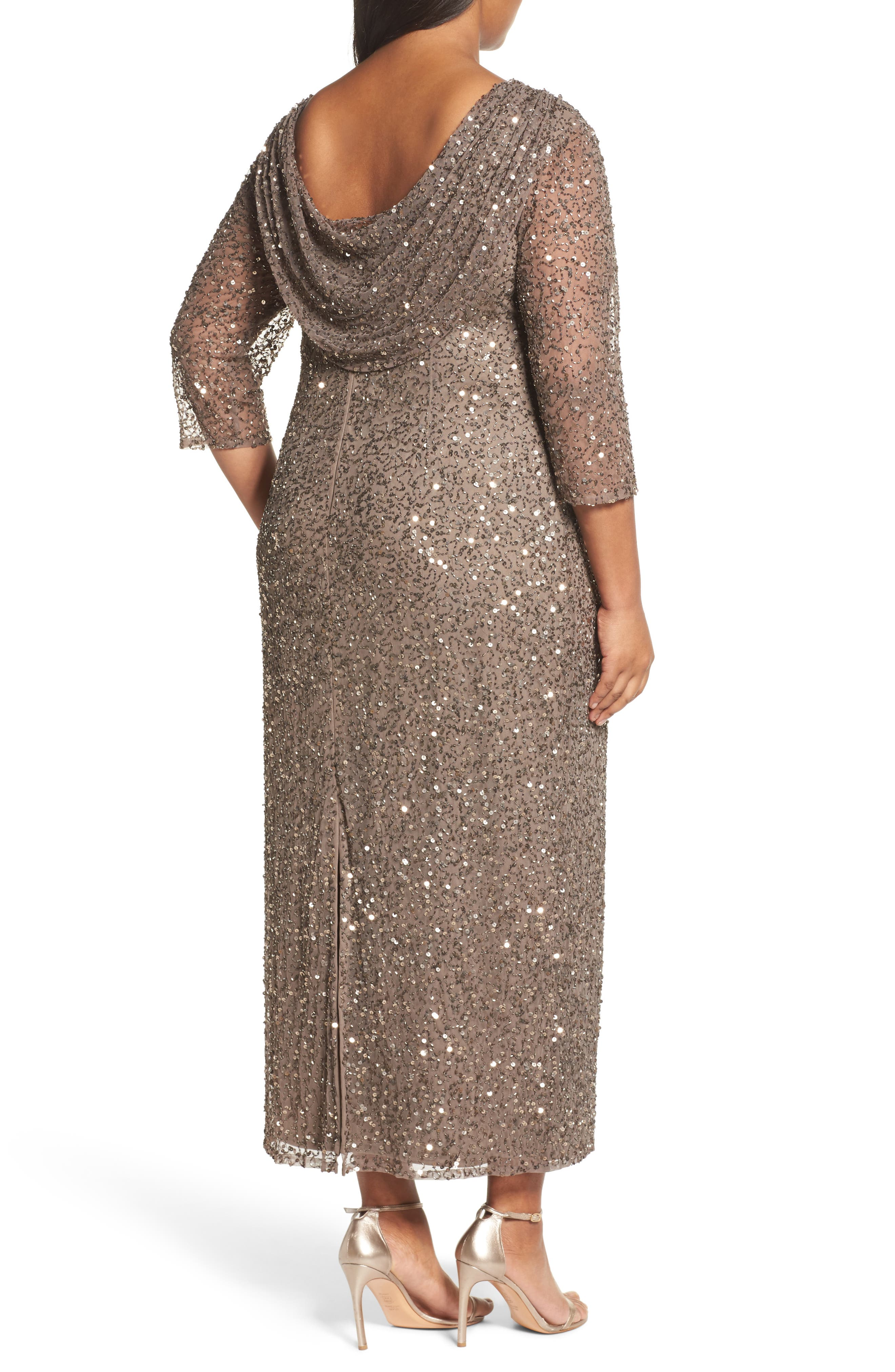 Cowl Back Beaded Gown,                             Alternate thumbnail 2, color,                             Mocha