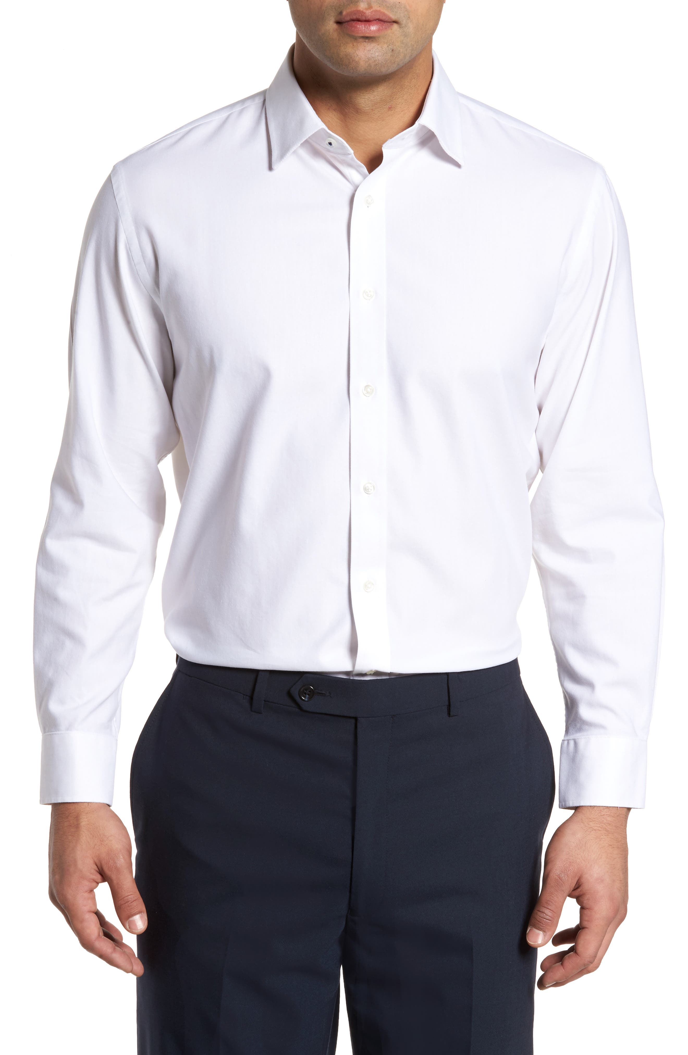 Tech-Smart Traditional Fit Stretch Solid Dress Shirt,                         Main,                         color, White