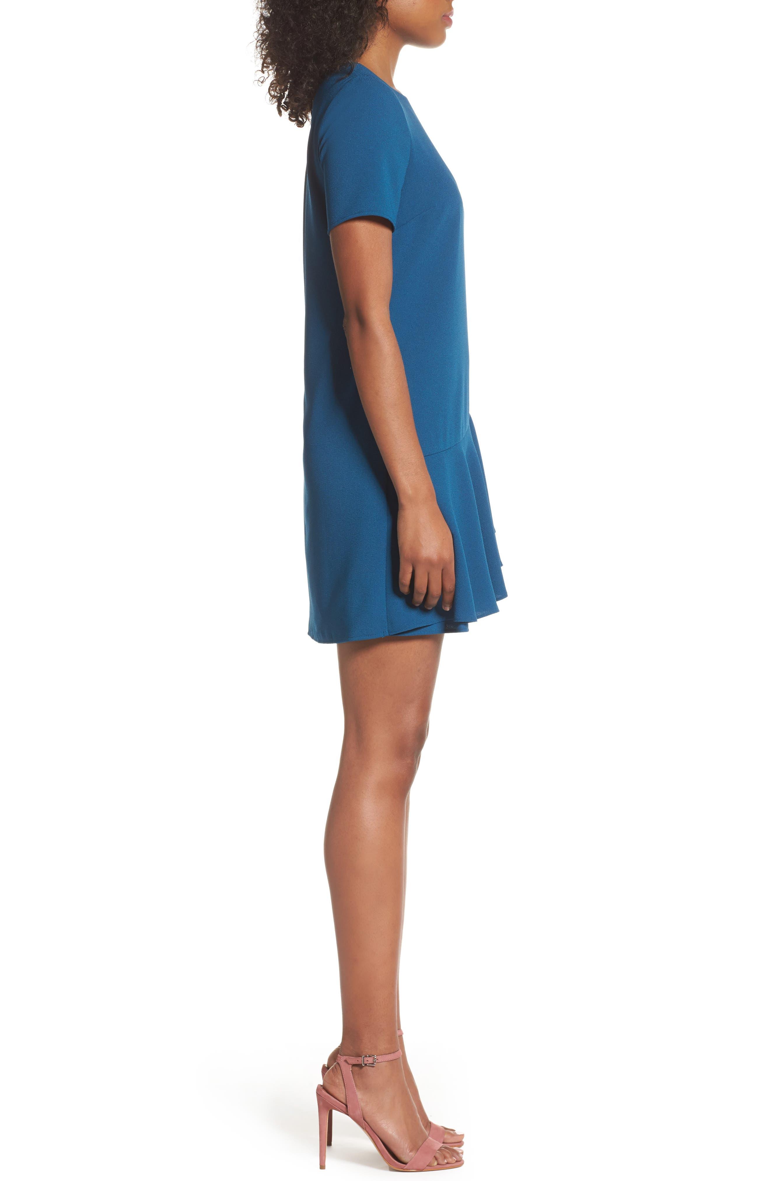 Asymmetrical Ruffle Shift Dress,                             Alternate thumbnail 3, color,                             Spruce