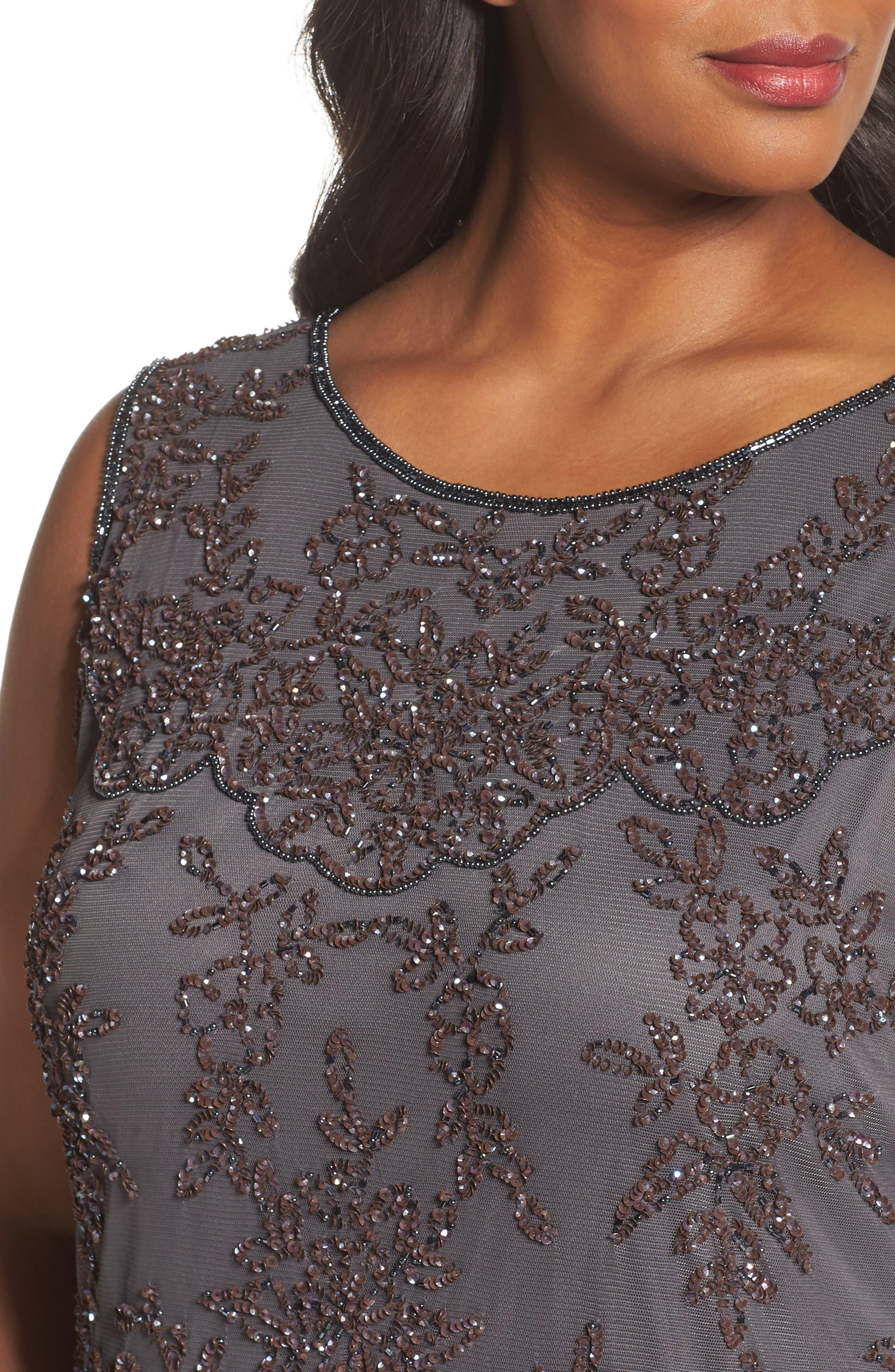 Alternate Image 4  - Pisarro Nights Embellished Bateau Neck Long Dress (Plus Size)