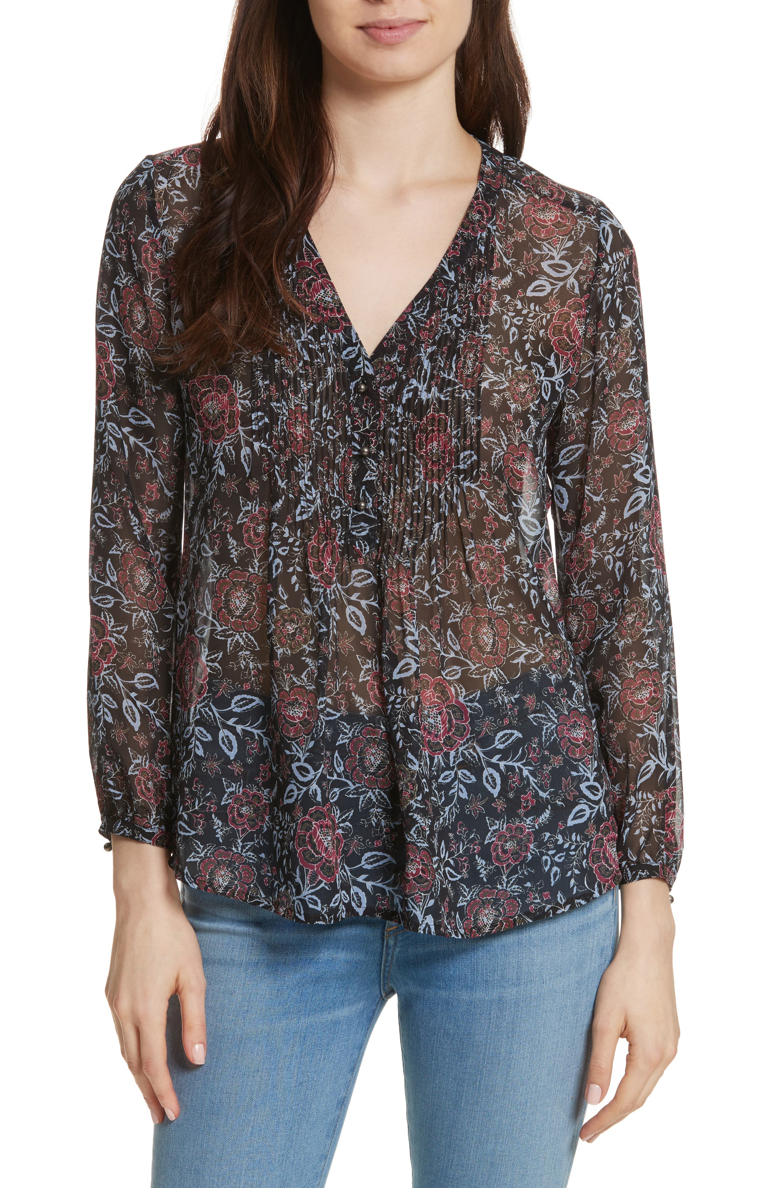 Veronica Beard Pintuck V-Neck Silk Henley