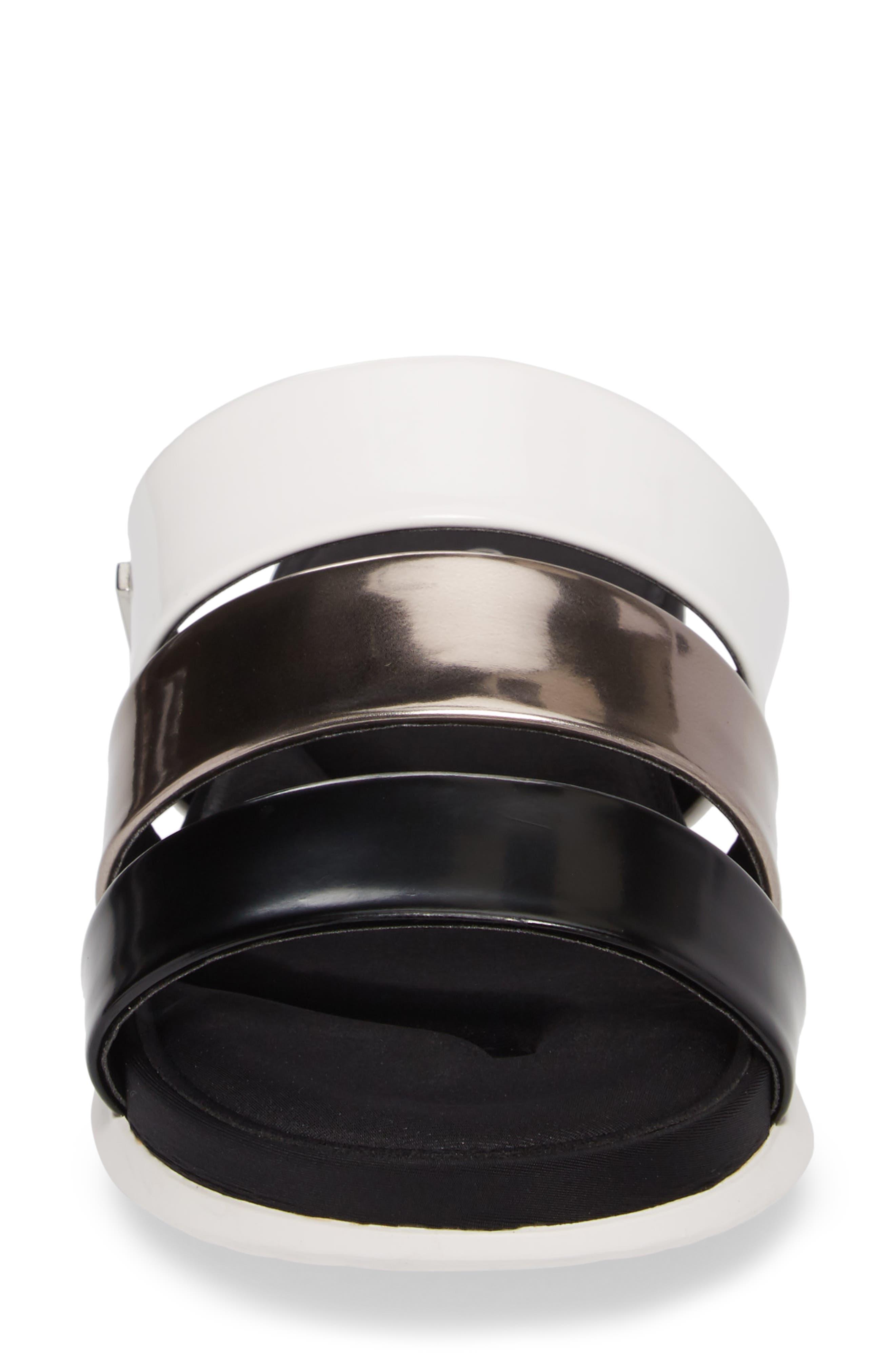 Dalana Slide Sandal,                             Alternate thumbnail 4, color,                             Black/ Pewter Faux Leather