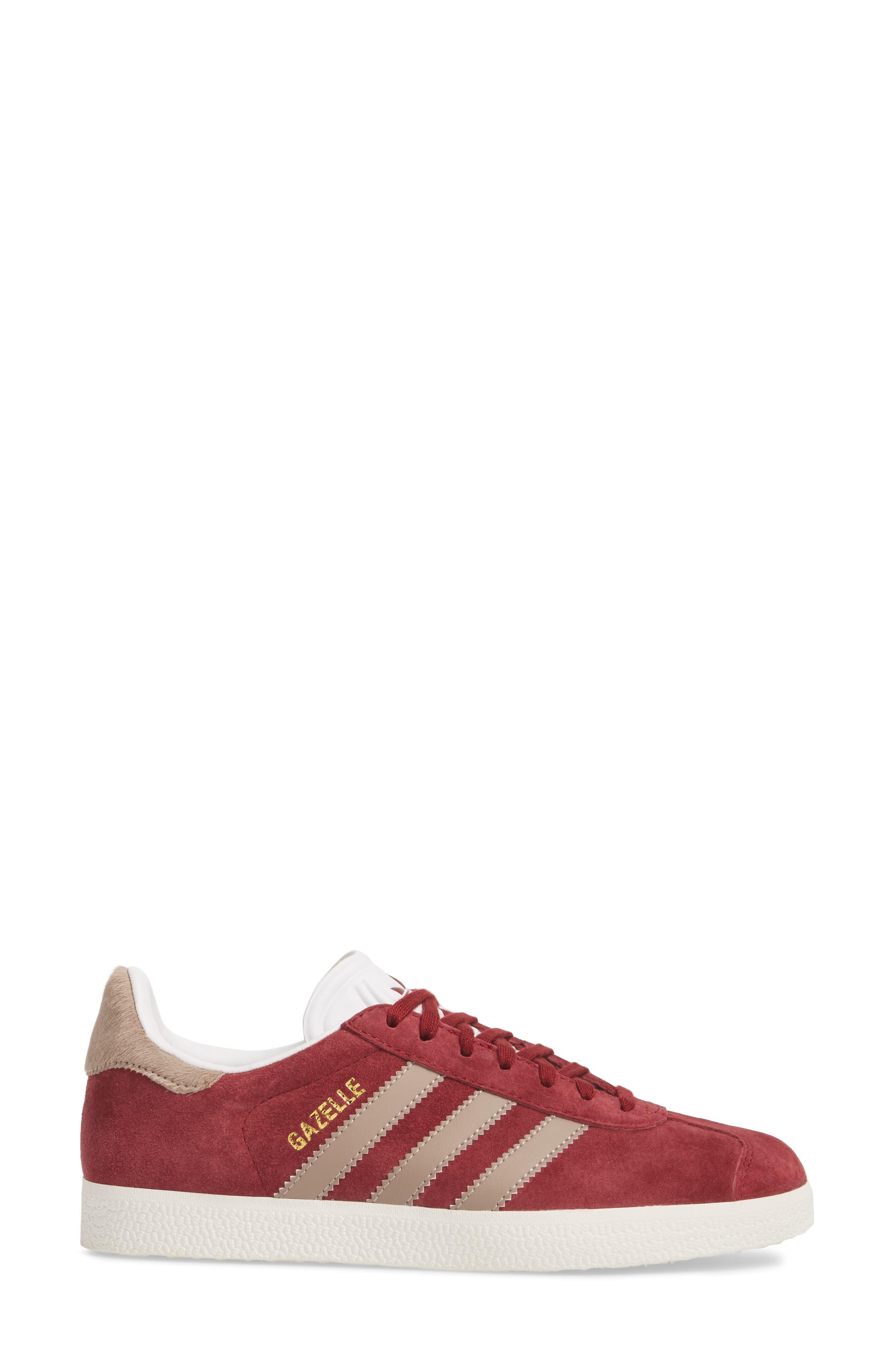 Gazelle Sneaker,                             Alternate thumbnail 3, color,                             Burgundy/ Vapour Grey/ White