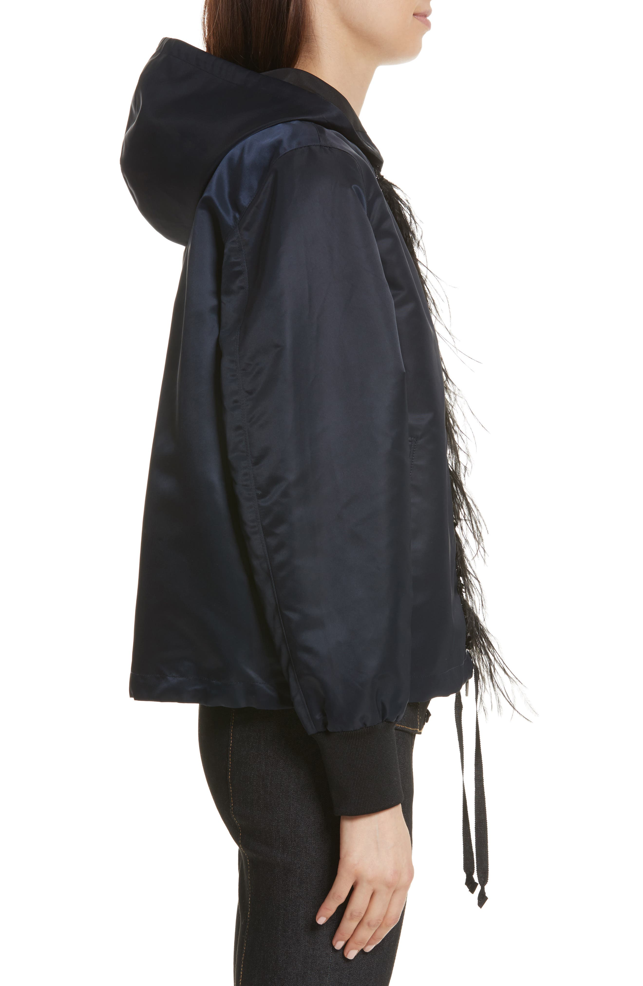 Collette Hooded Feather Trim Jacket,                             Alternate thumbnail 3, color,                             Navy/ Black