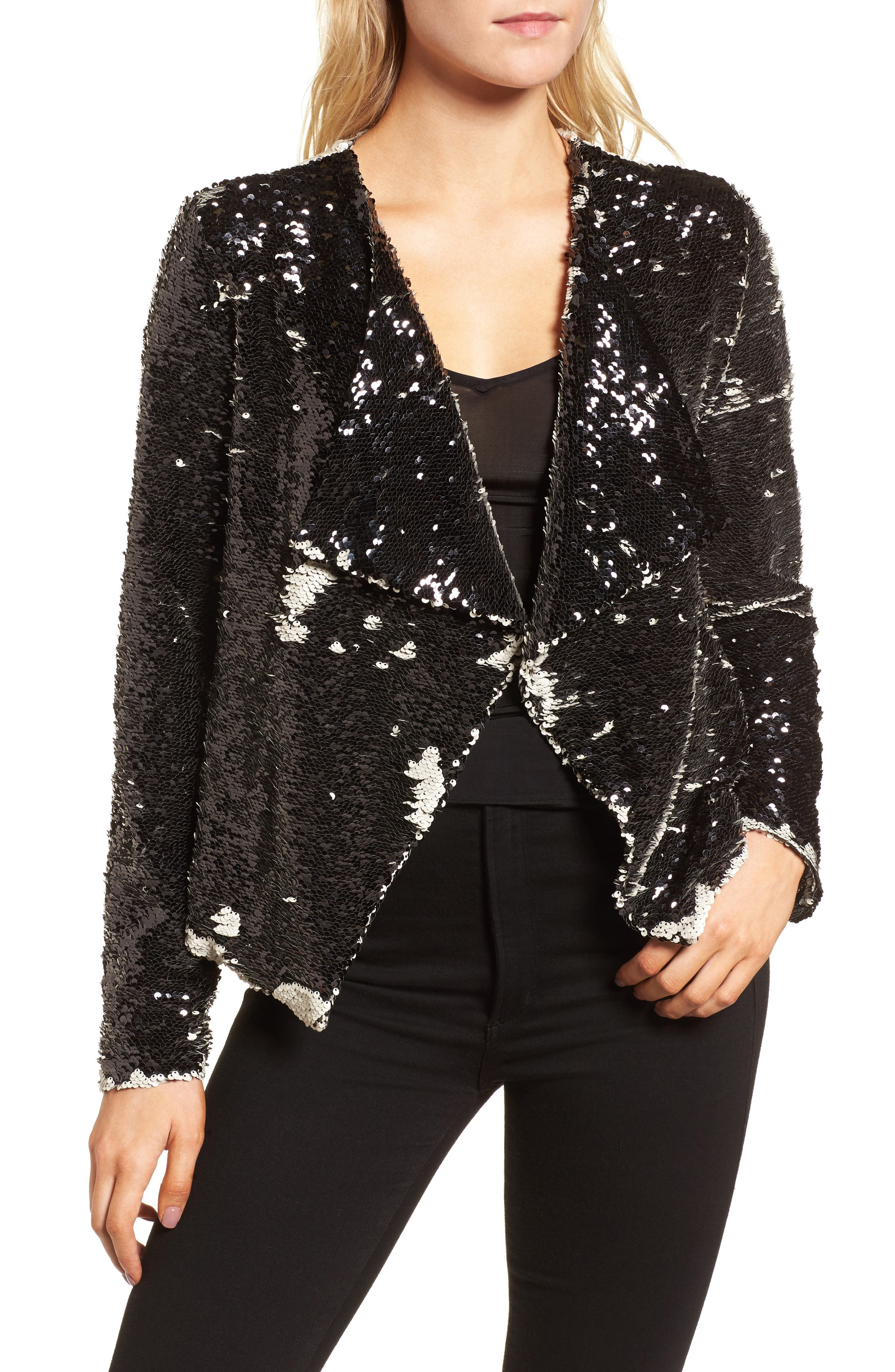 Alternate Image 4  - cupcakes and cashmere Bellwood Sequin Drape Front Jacket