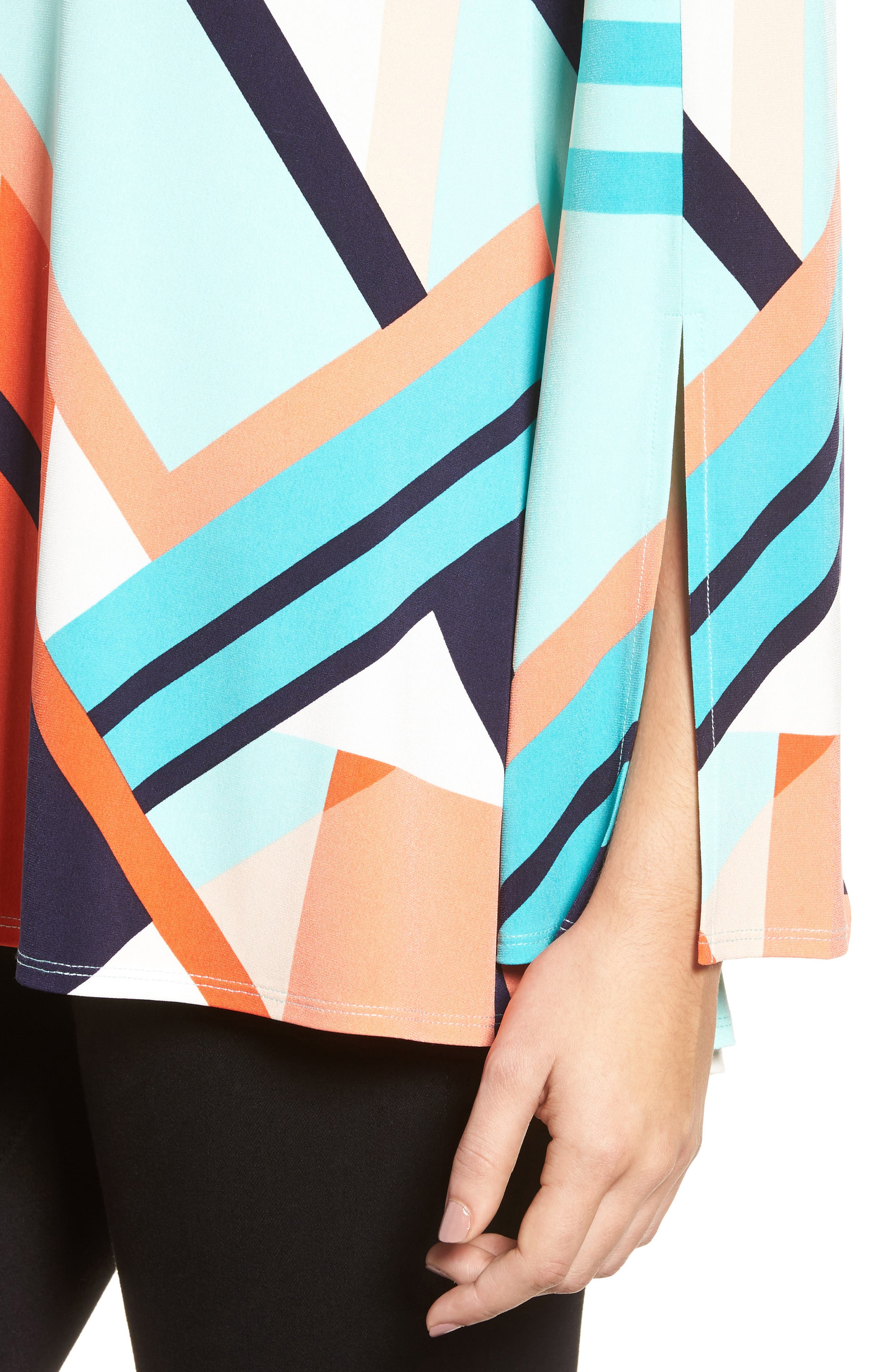 Alternate Image 4  - Chaus Geo Print Split Sleeve Knit Top