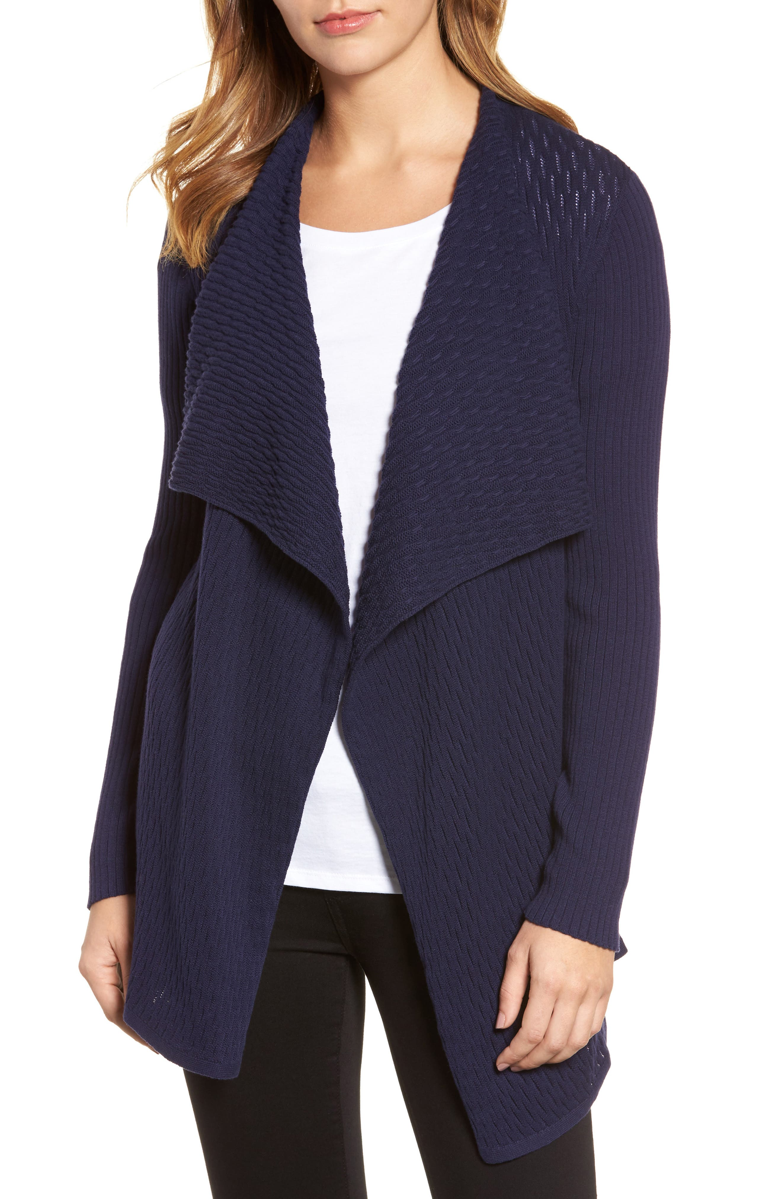 Novelty Stitch Drape Front Cardigan,                             Main thumbnail 1, color,                             Evening Na