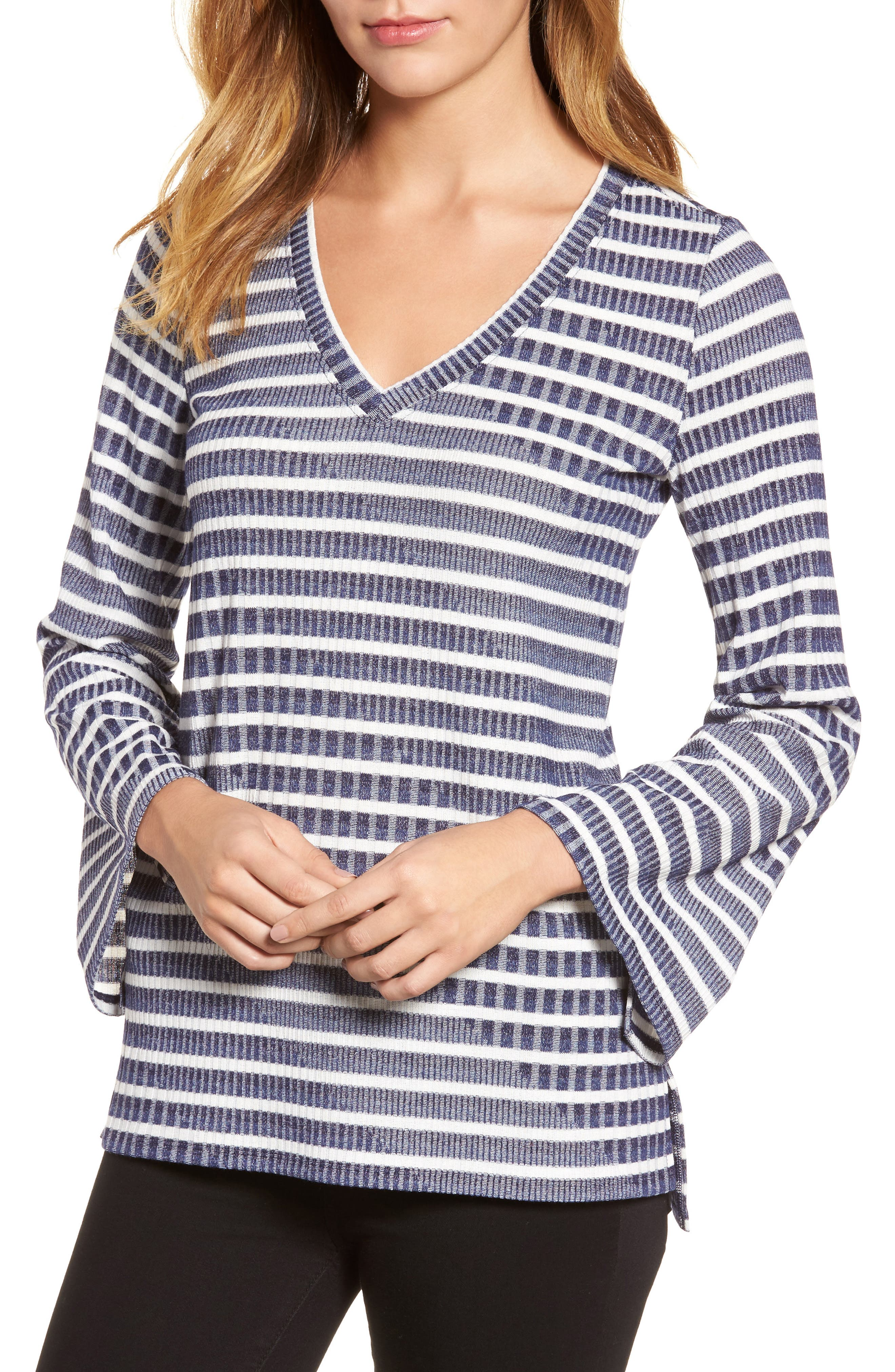 Bell Sleeve Stripe Top,                             Main thumbnail 1, color,                             Evening Na